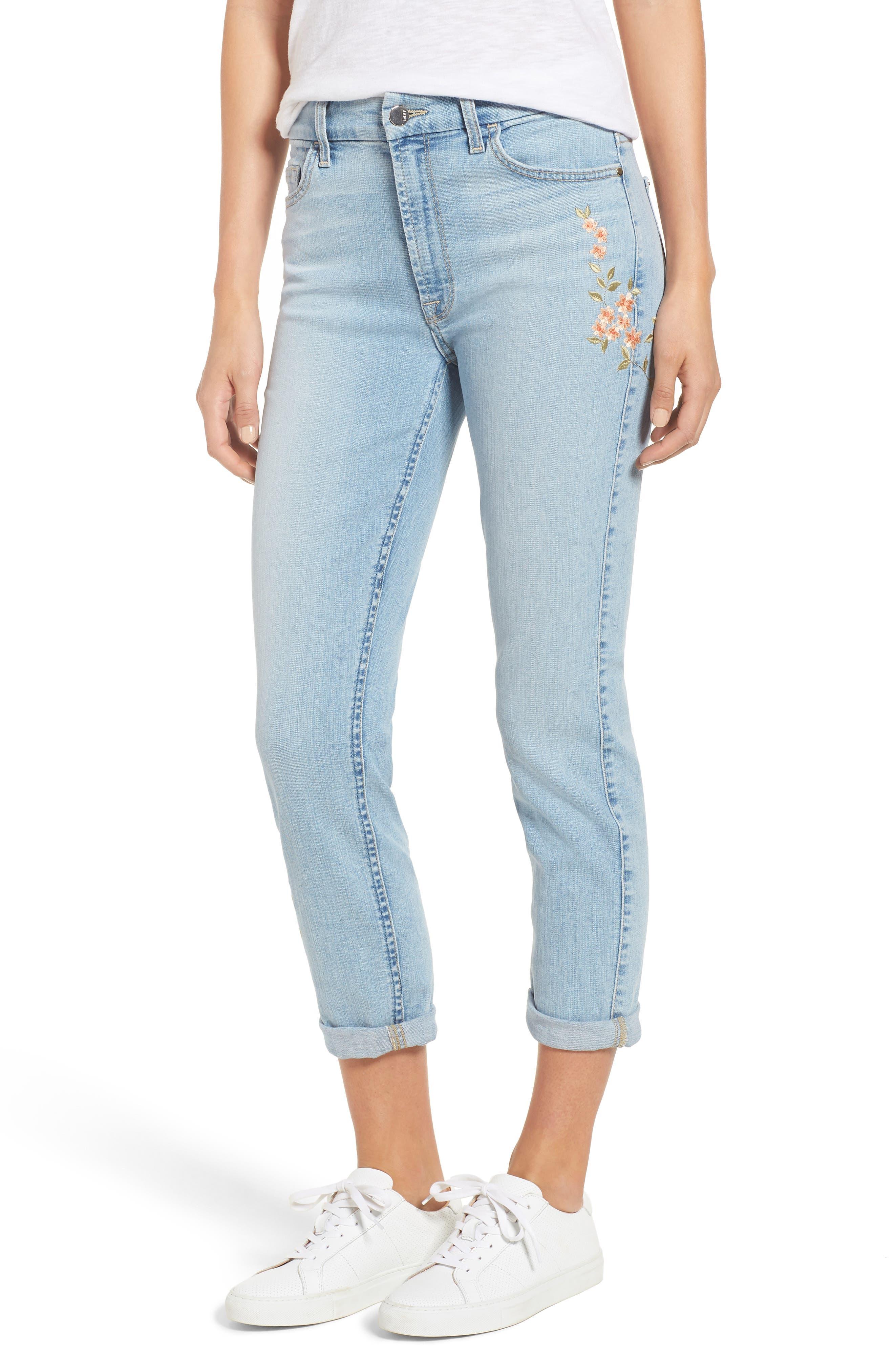 Embroidered Slim Boyfriend Jeans,                         Main,                         color, Riche Touch Playa Vista