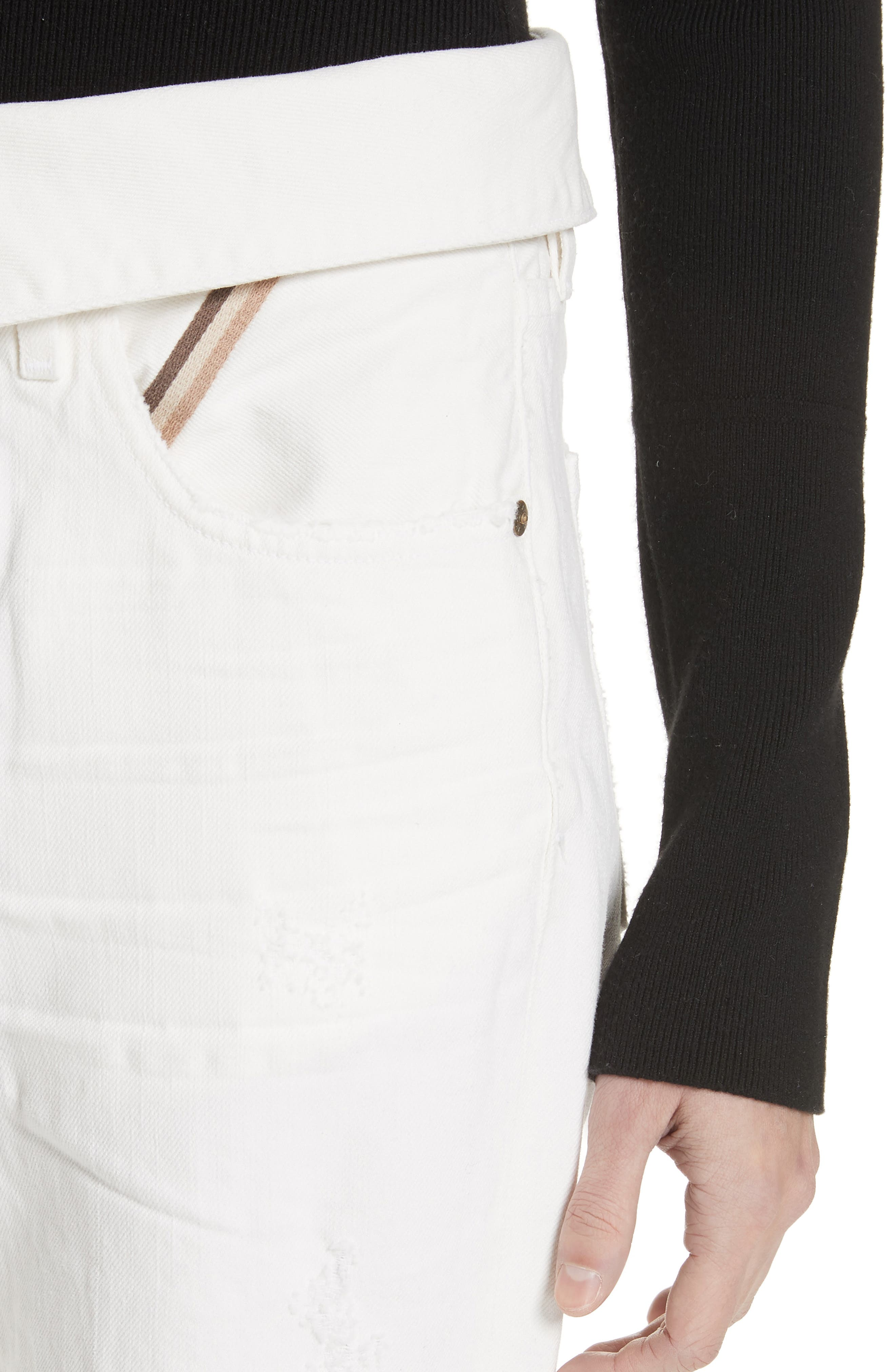 Flip Straight Leg Jeans,                             Alternate thumbnail 4, color,                             White Sand