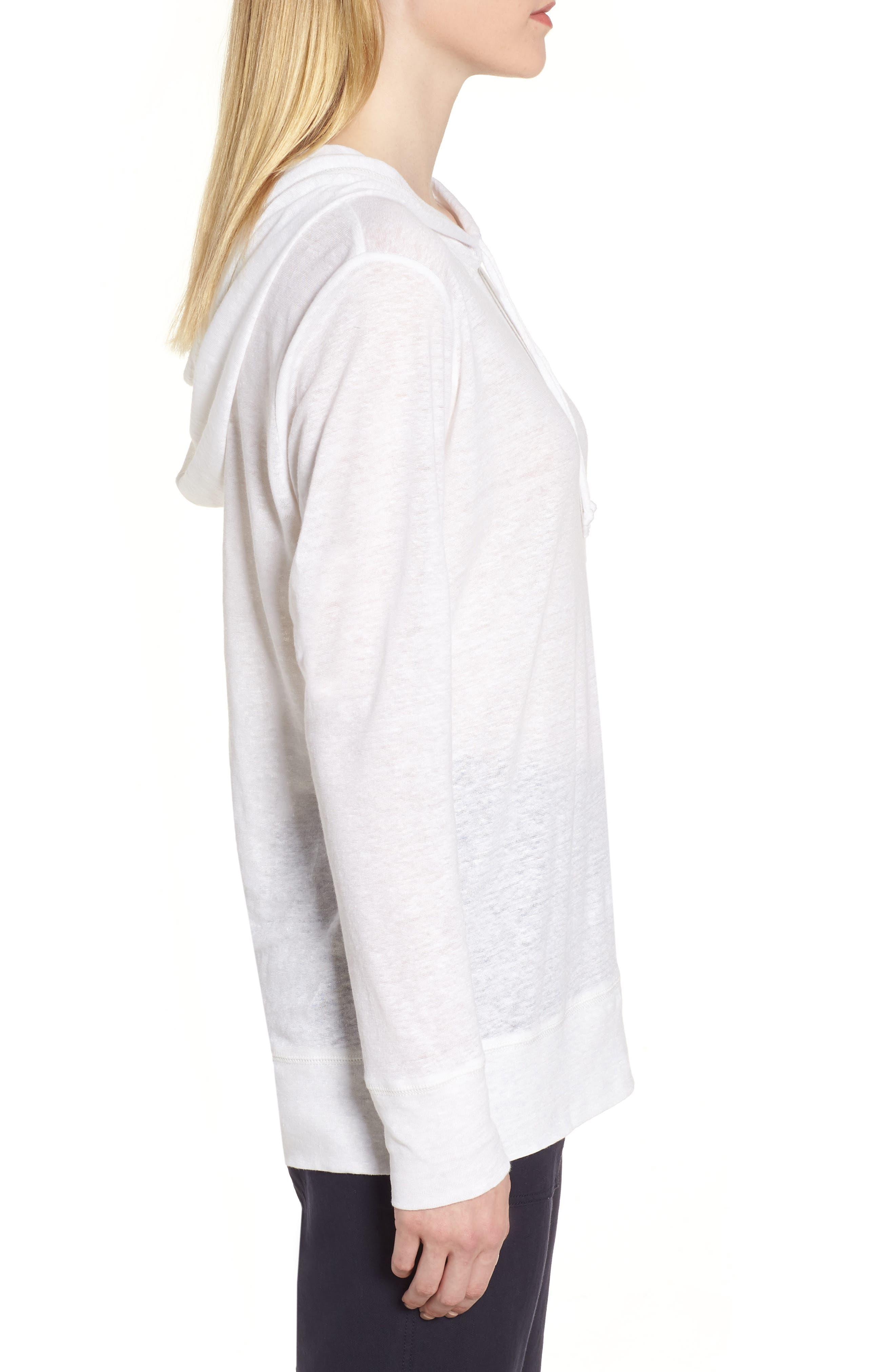 Knit Linen Hoodie,                             Alternate thumbnail 3, color,                             White