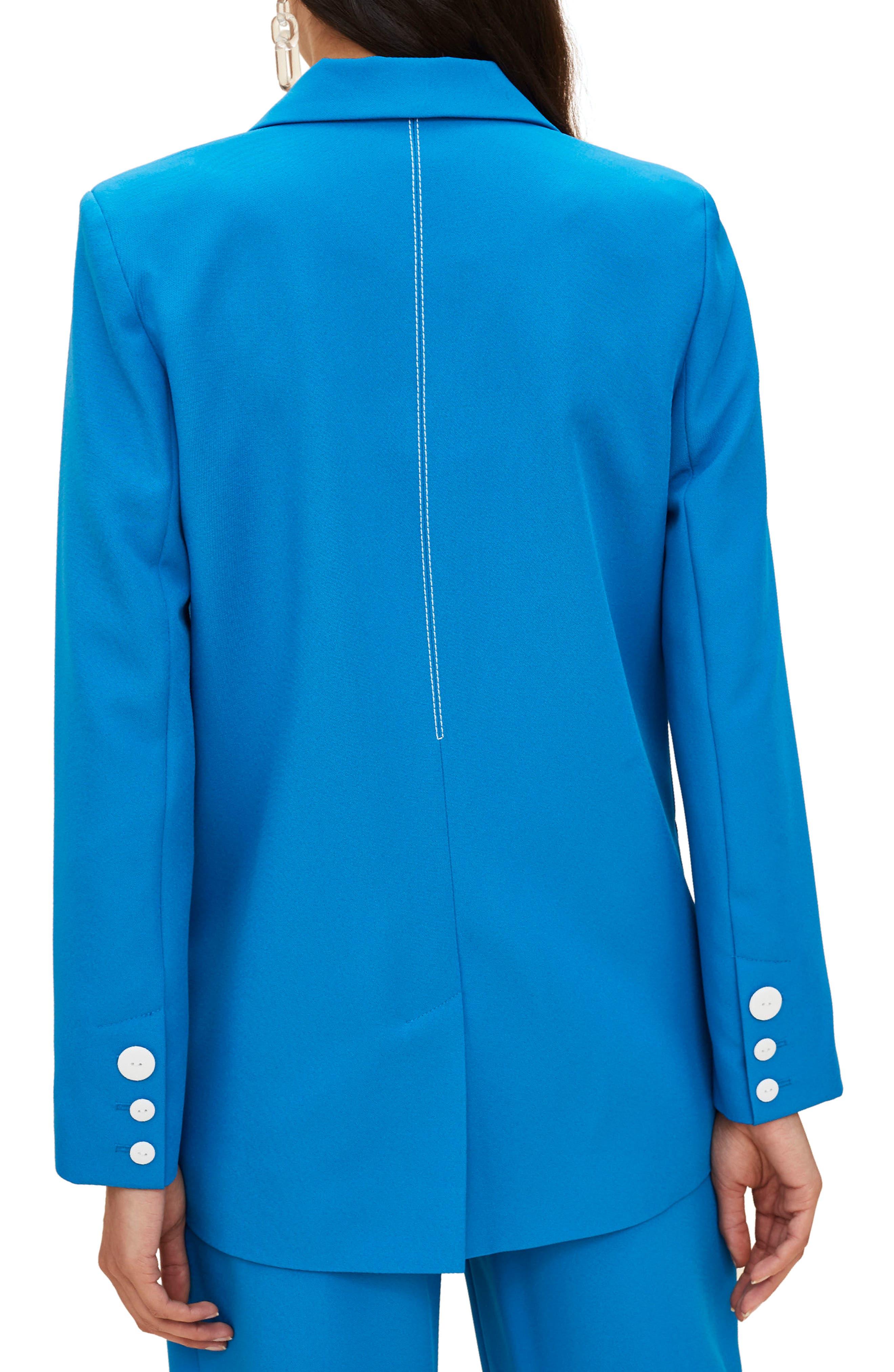 Azure Contrast Stitch Suit Jacket,                             Alternate thumbnail 2, color,                             Bright Blue