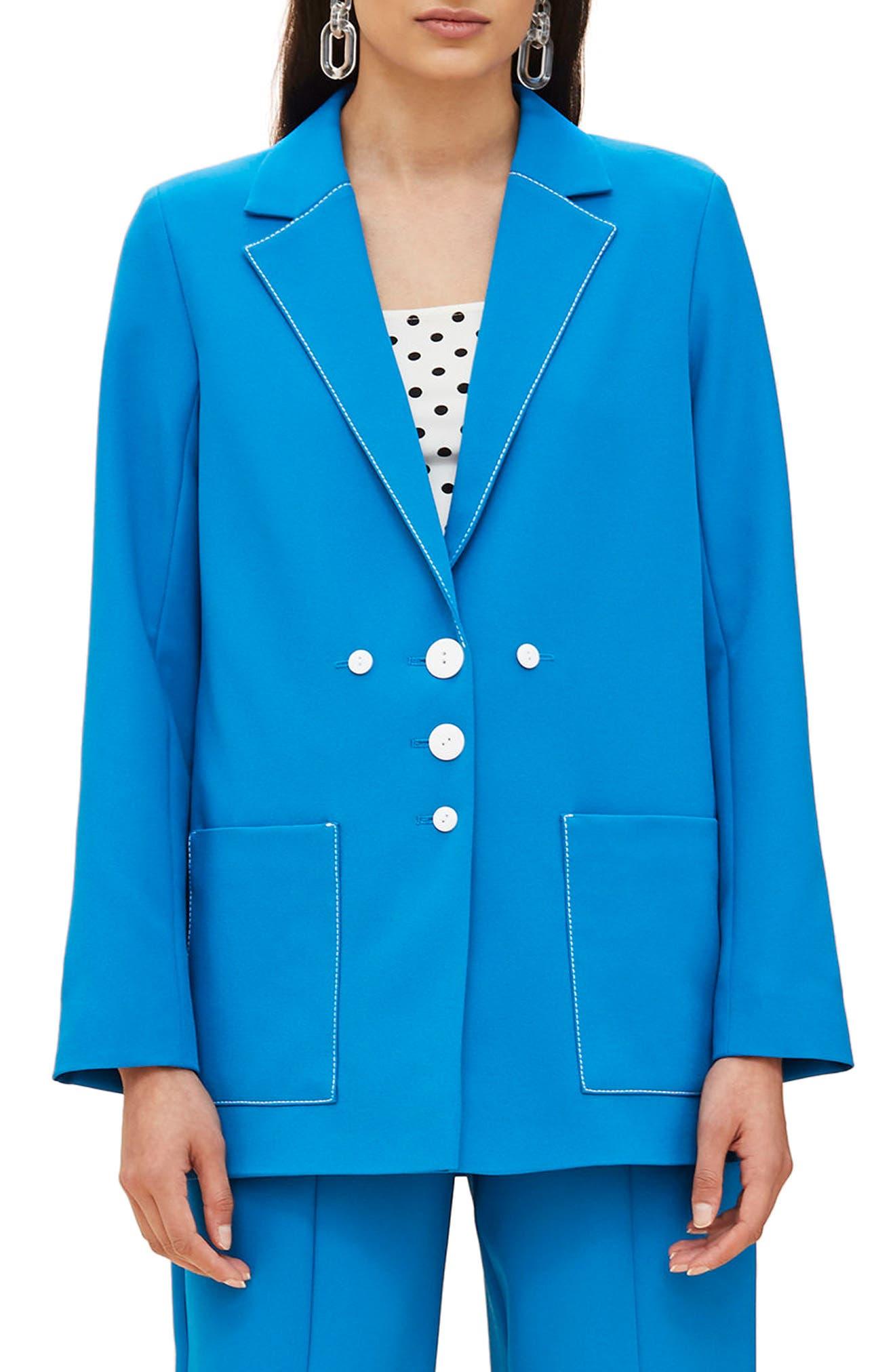 Azure Contrast Stitch Suit Jacket,                             Main thumbnail 1, color,                             Bright Blue