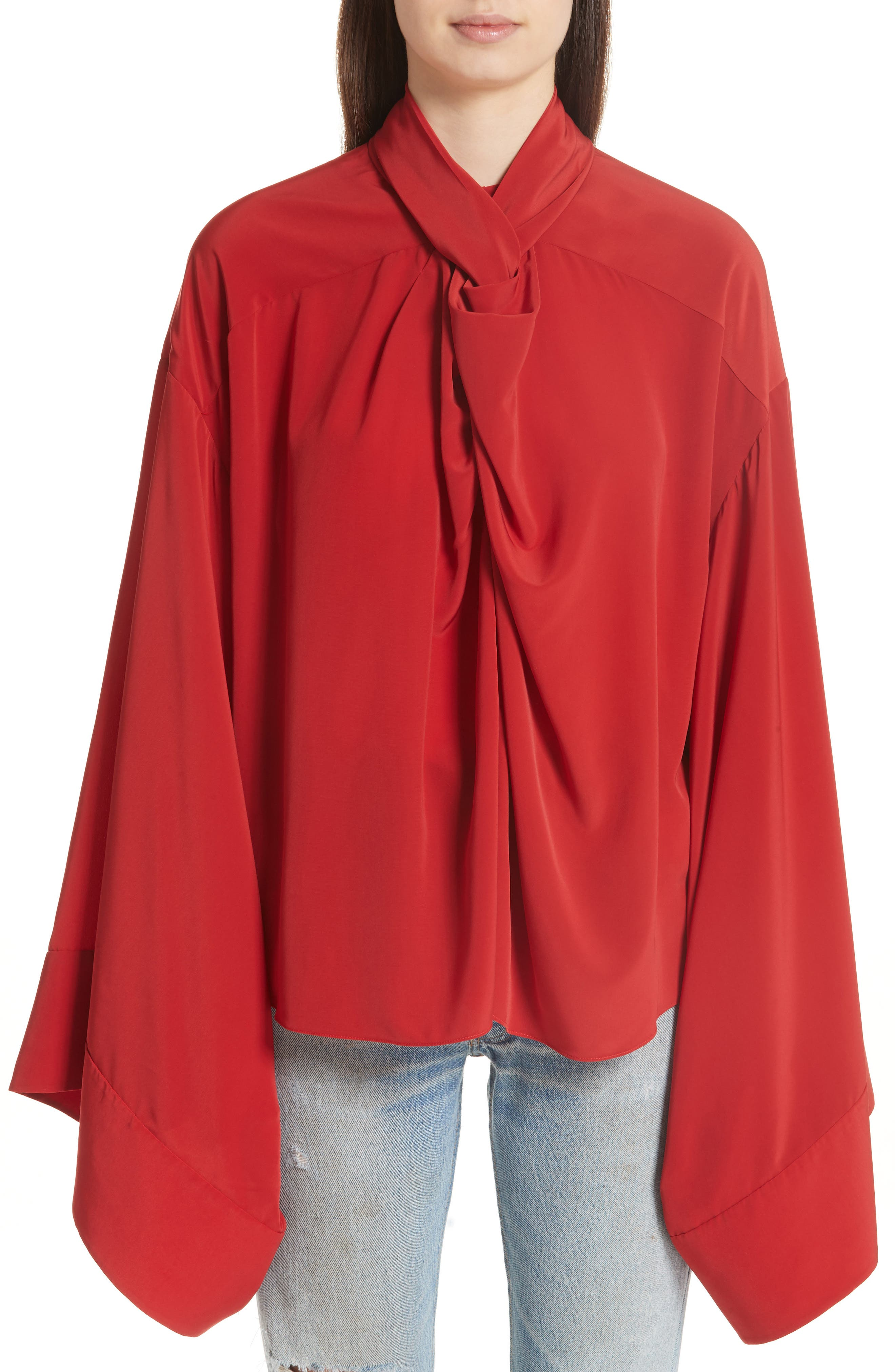 Kimono Sleeve Blouse,                         Main,                         color, Red