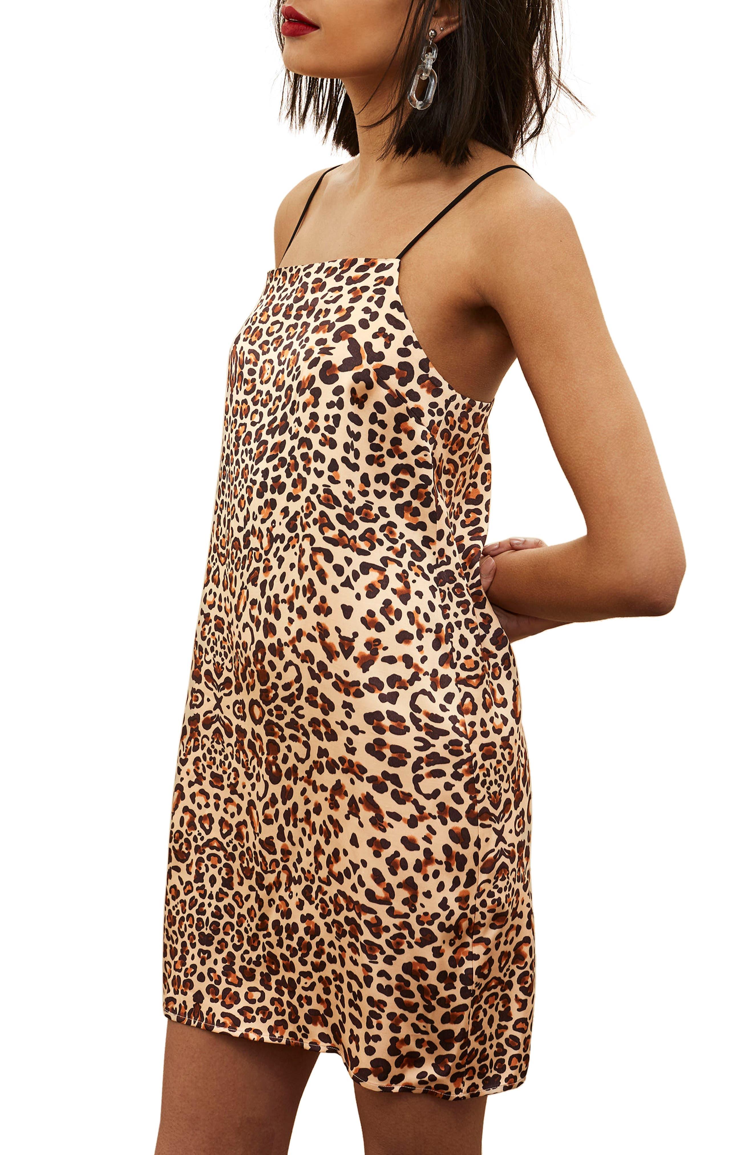 Leopard Mini Slipdress,                             Main thumbnail 1, color,                             Brown Multi