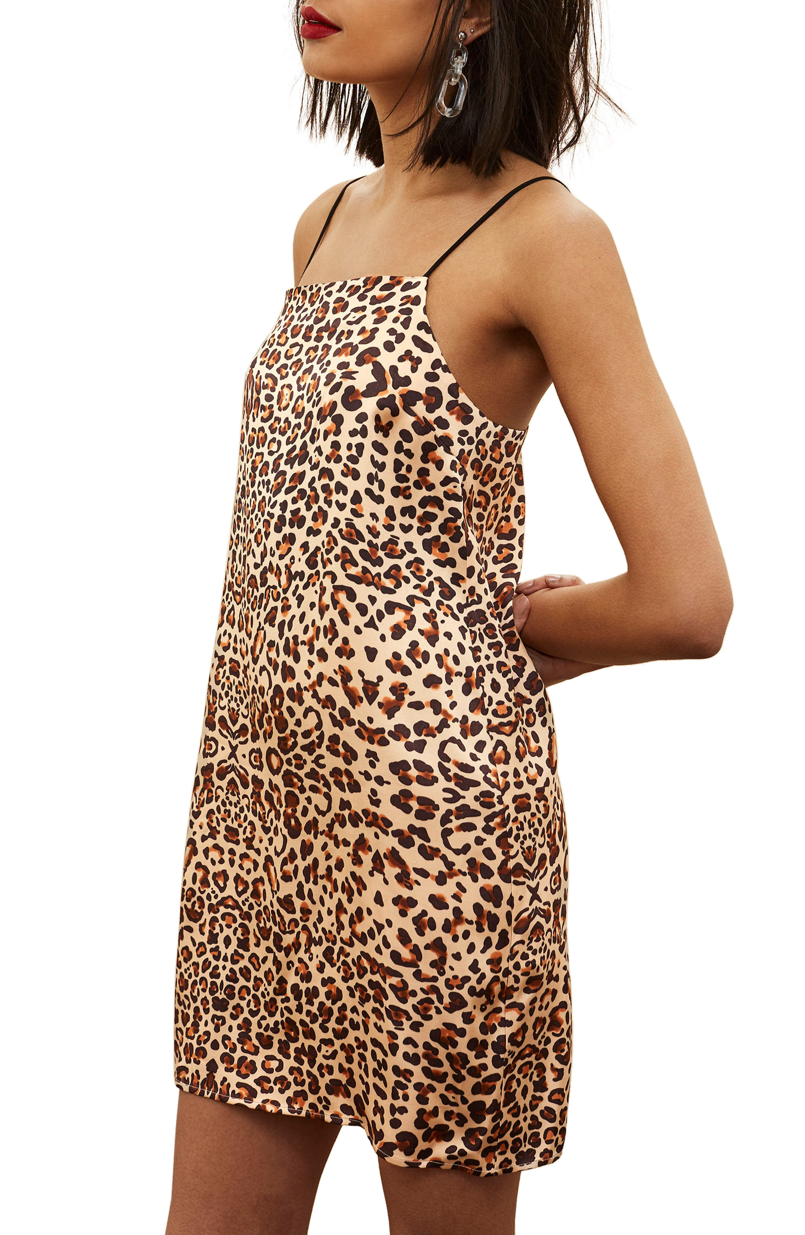 Main Image - Topshop Leopard Mini Slipdress