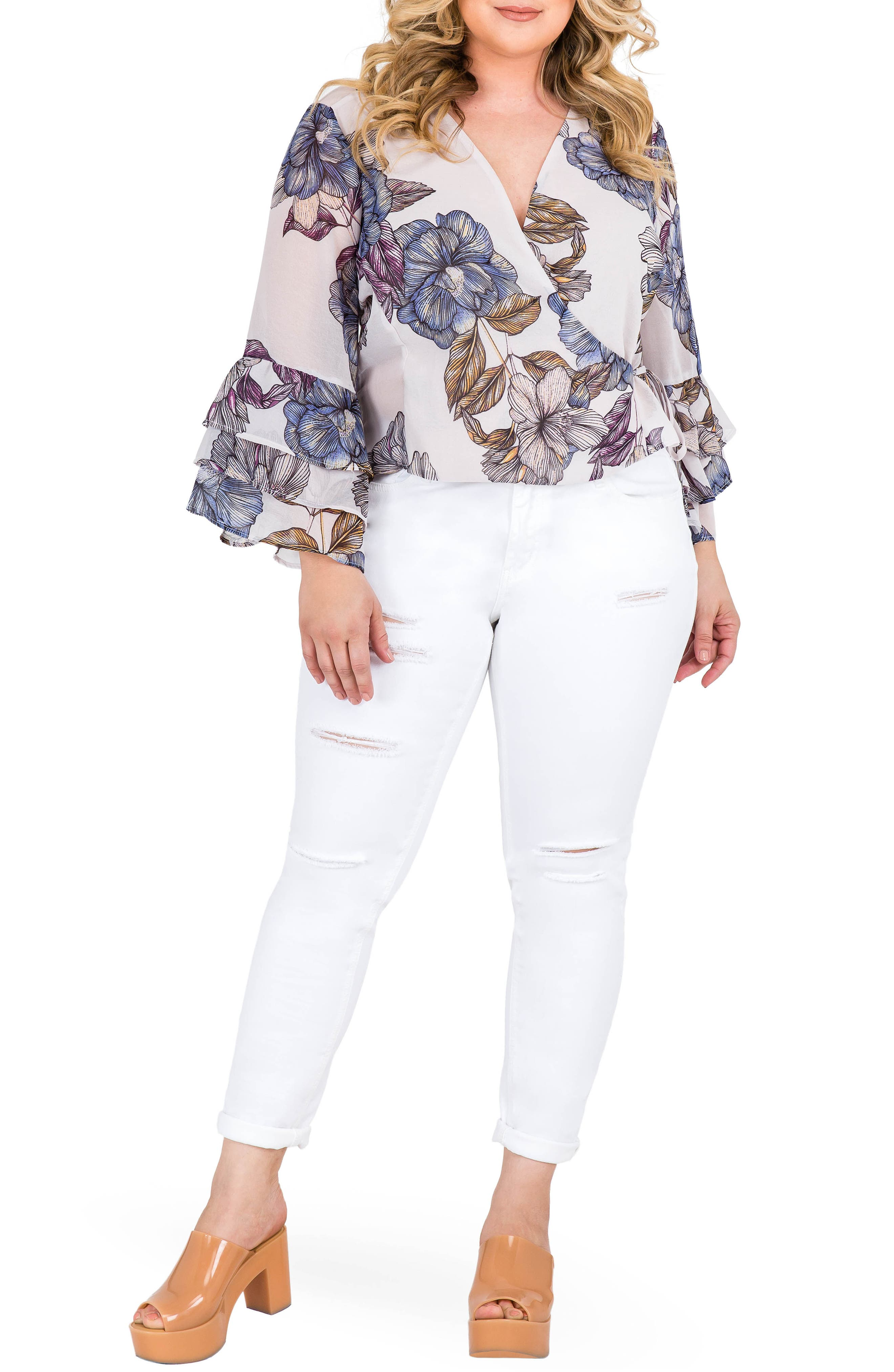 Miley Bell Sleeve Floral Wrap Top,                             Alternate thumbnail 3, color,                             Light Gray Floral Print