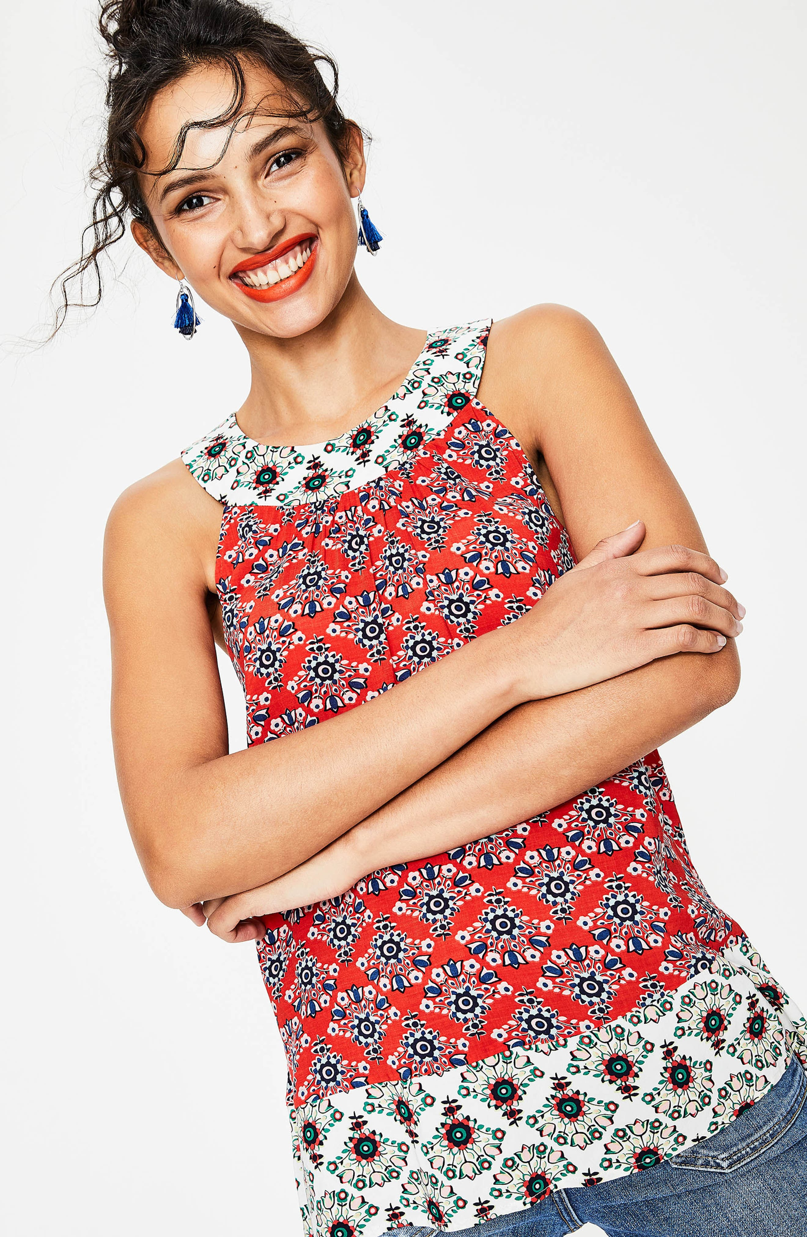 Print Mix Swing Top,                             Alternate thumbnail 5, color,                             Red Pop Floral Bouq
