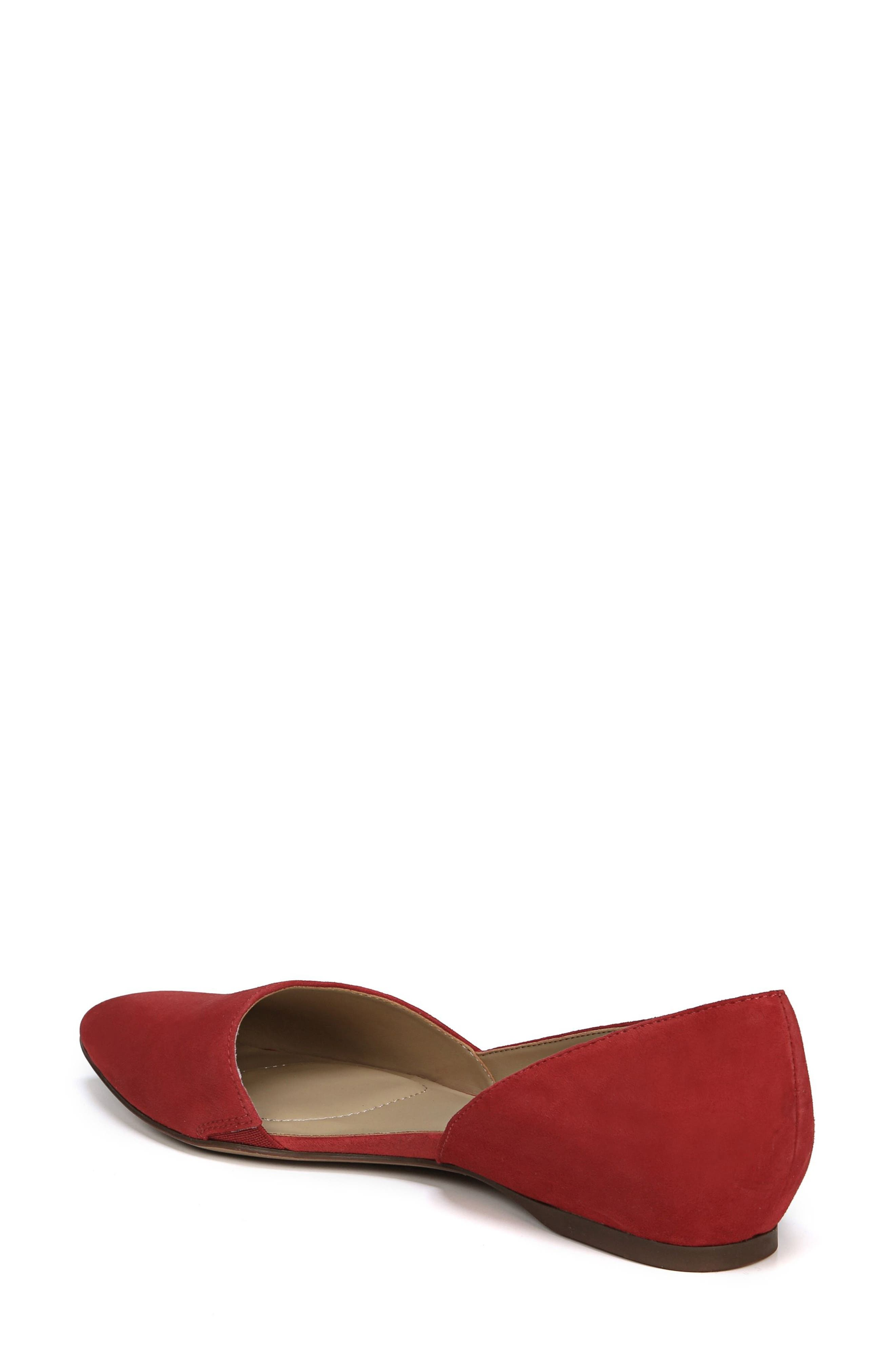 Samantha Half d'Orsay Flat,                             Alternate thumbnail 2, color,                             Hot Sauce Suede