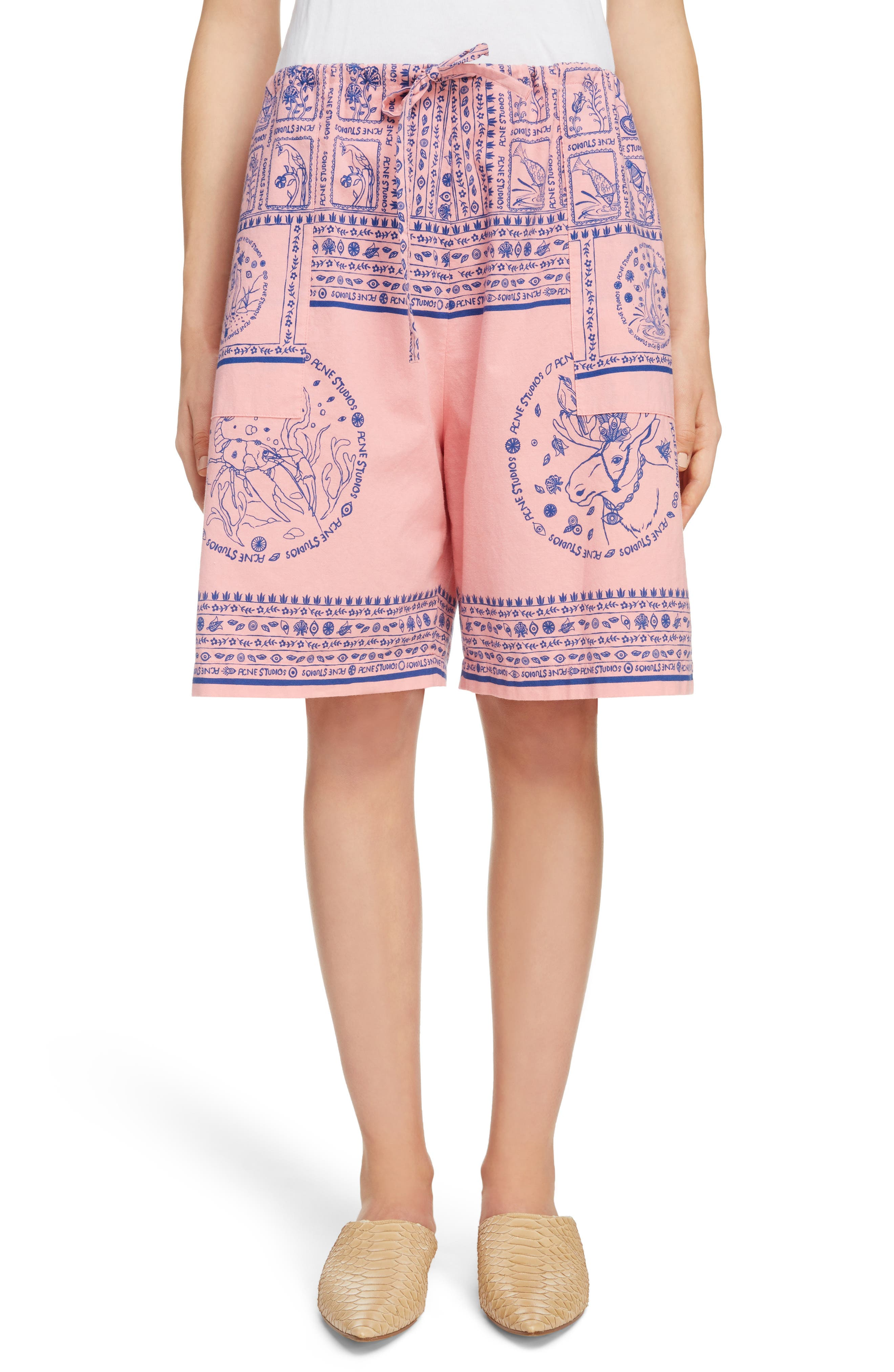 Nejlika Print Shorts,                             Main thumbnail 1, color,                             Pink Block Print