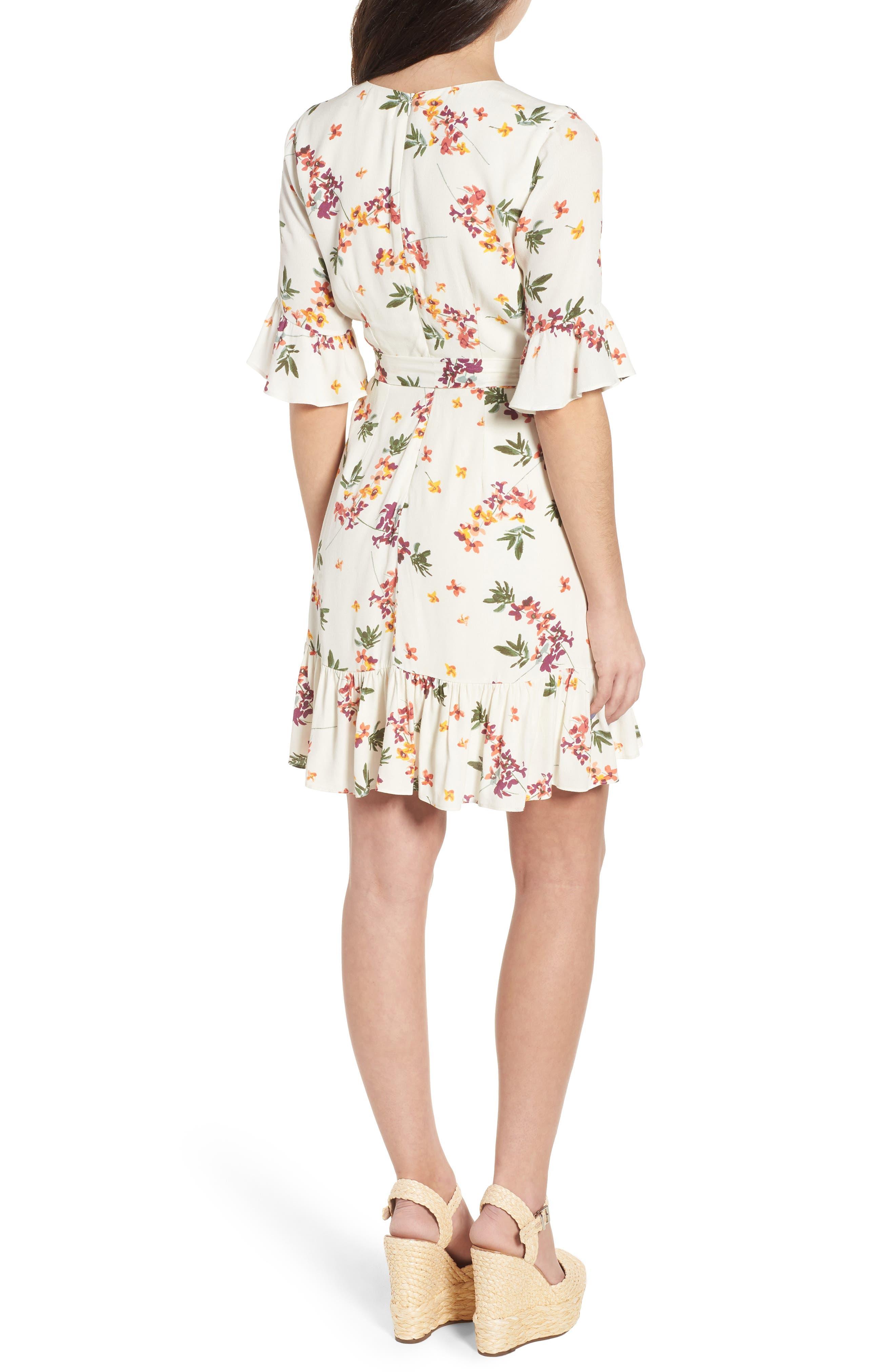 Regina Floral Wrap Minidress,                             Alternate thumbnail 3, color,                             Creme Multi