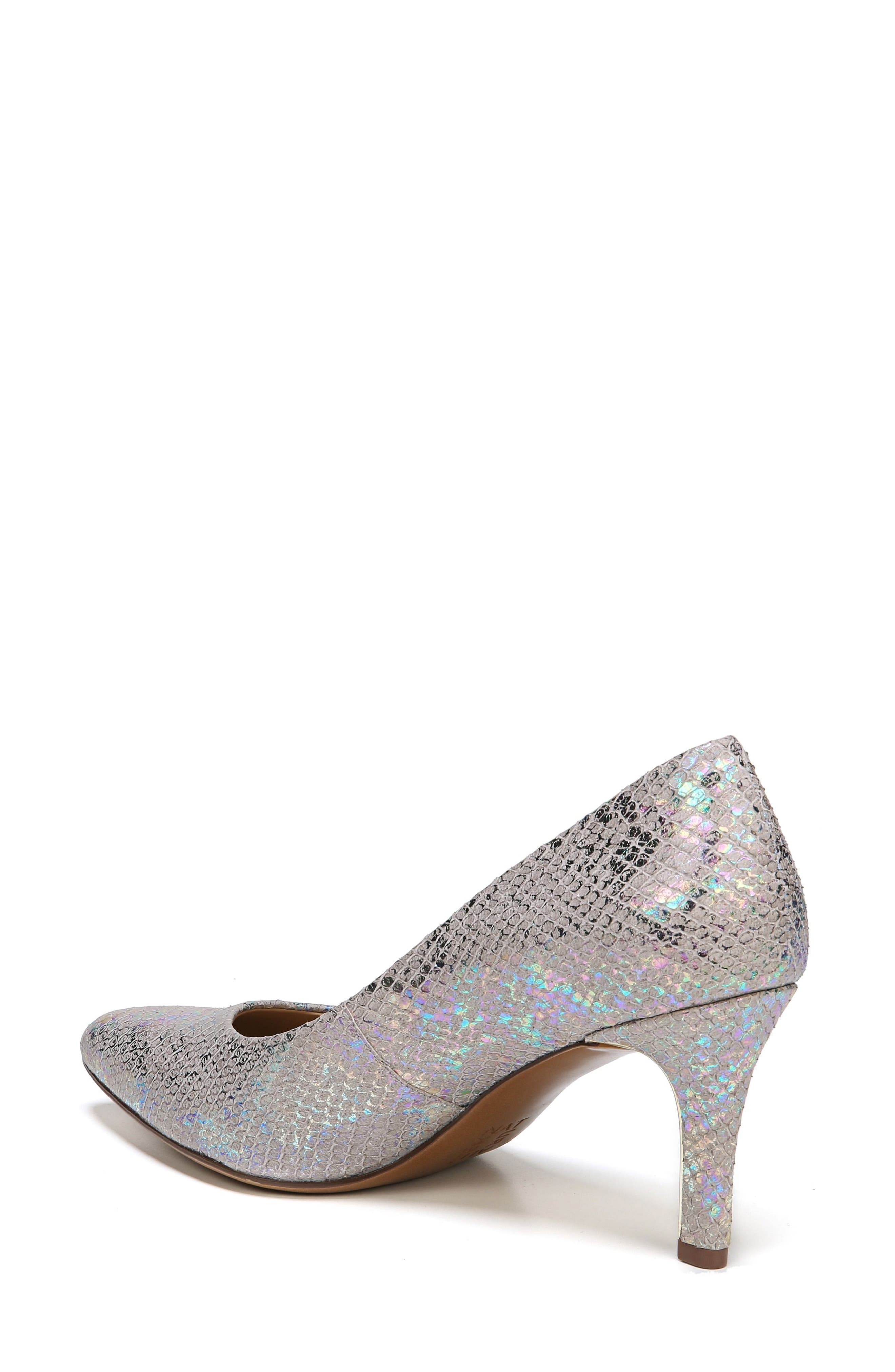 Natalie Pointy Toe Pump,                             Alternate thumbnail 2, color,                             Silver Snake Print Leather