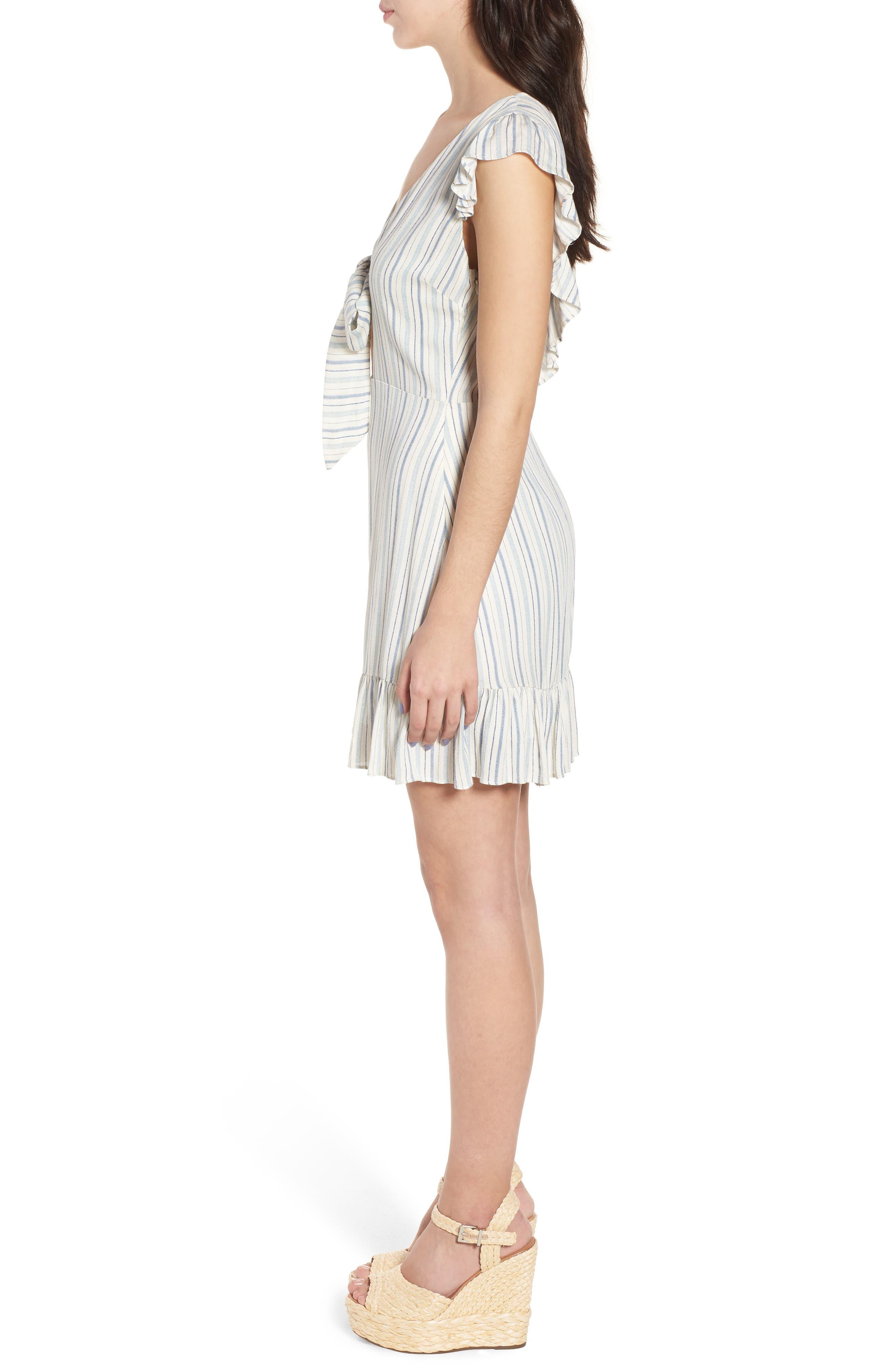 Kiara Stripe Minidress,                             Alternate thumbnail 4, color,                             Light Blue
