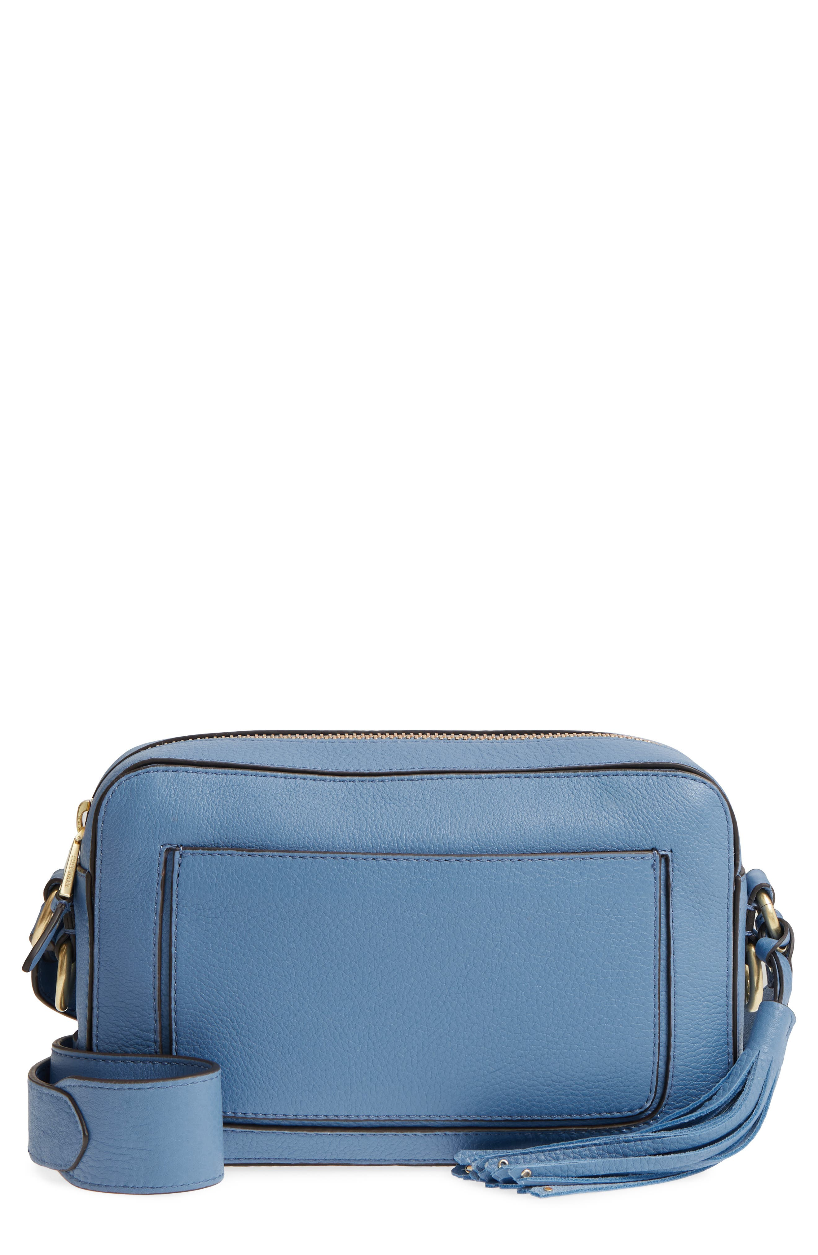 Cassidy RFID Pebbled Leather Camera Bag,                             Main thumbnail 1, color,                             Riverside