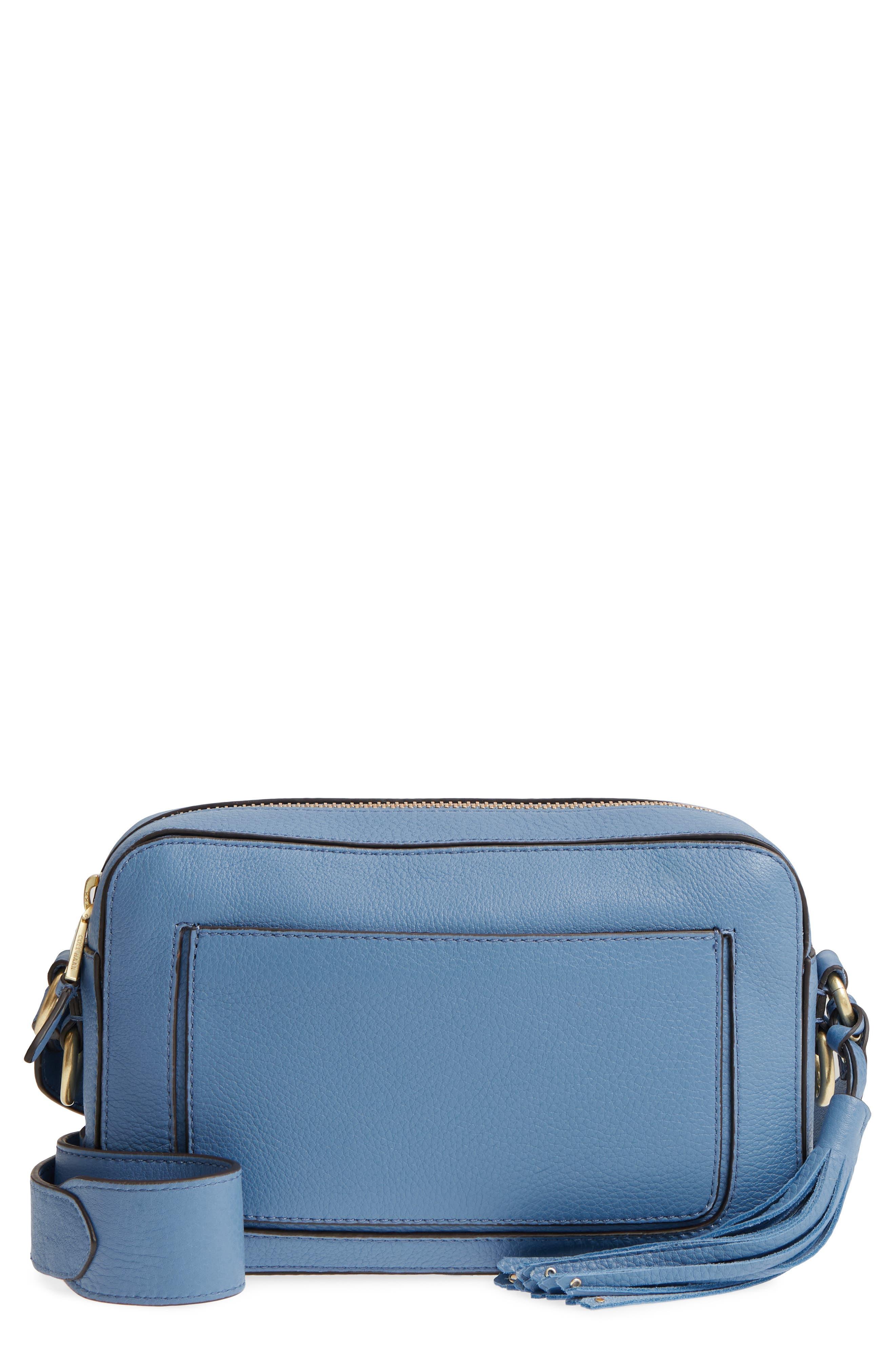 Cassidy RFID Pebbled Leather Camera Bag,                         Main,                         color, Riverside