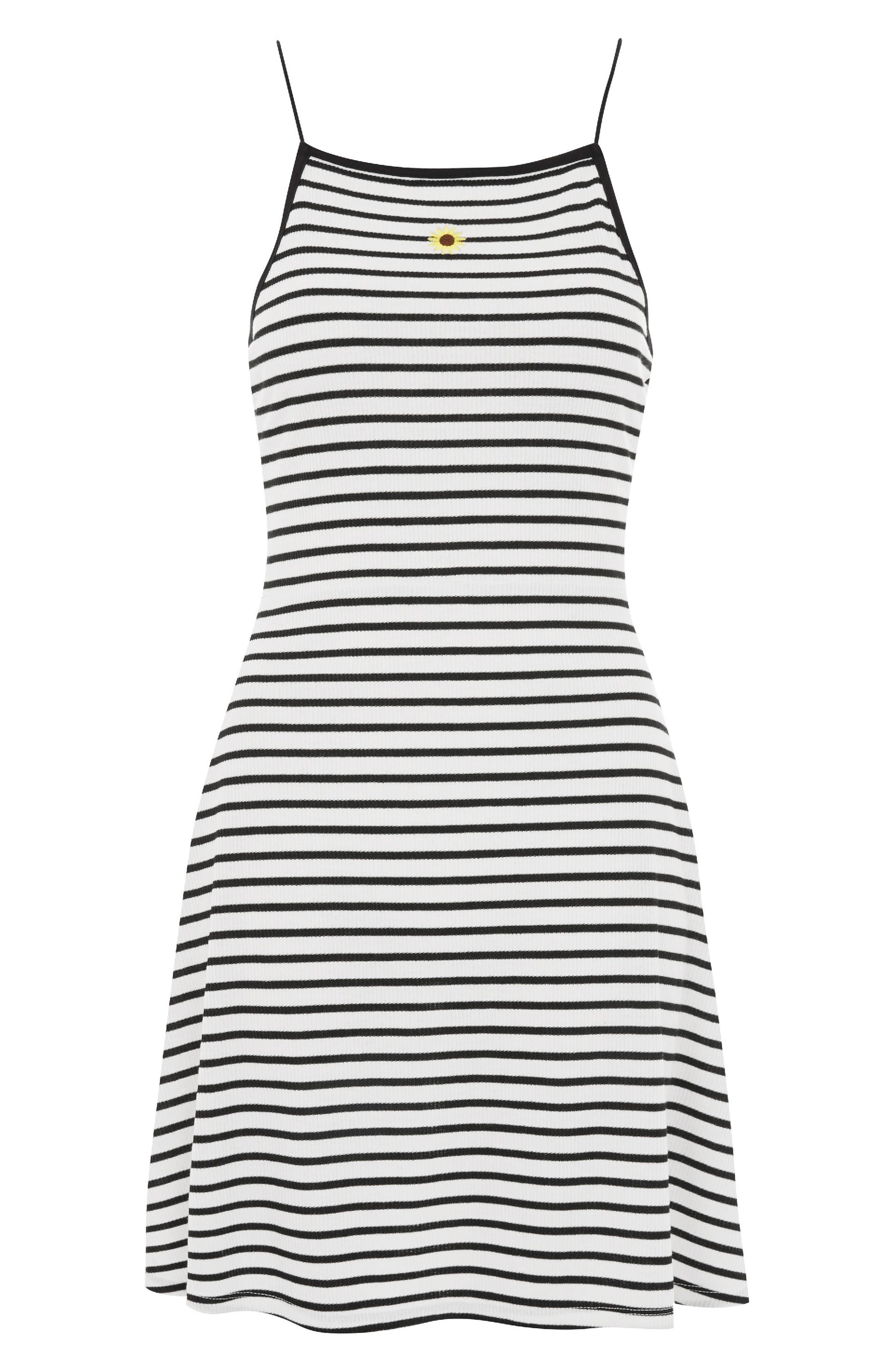 Stripe Skater Dress,                             Alternate thumbnail 3, color,                             White Multi