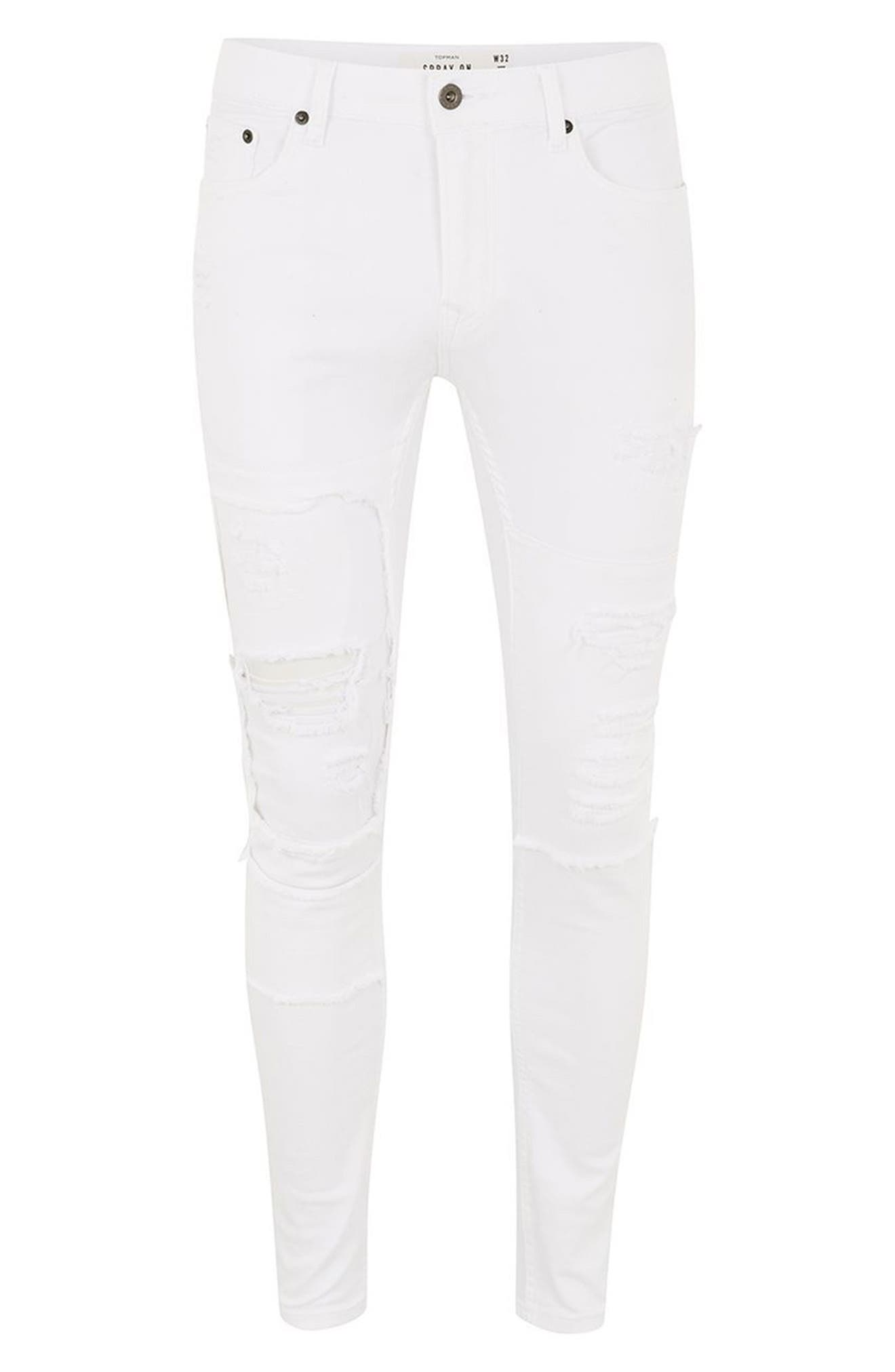 Spray-On Skinny Fit Ripped Jeans,                             Alternate thumbnail 4, color,                             White