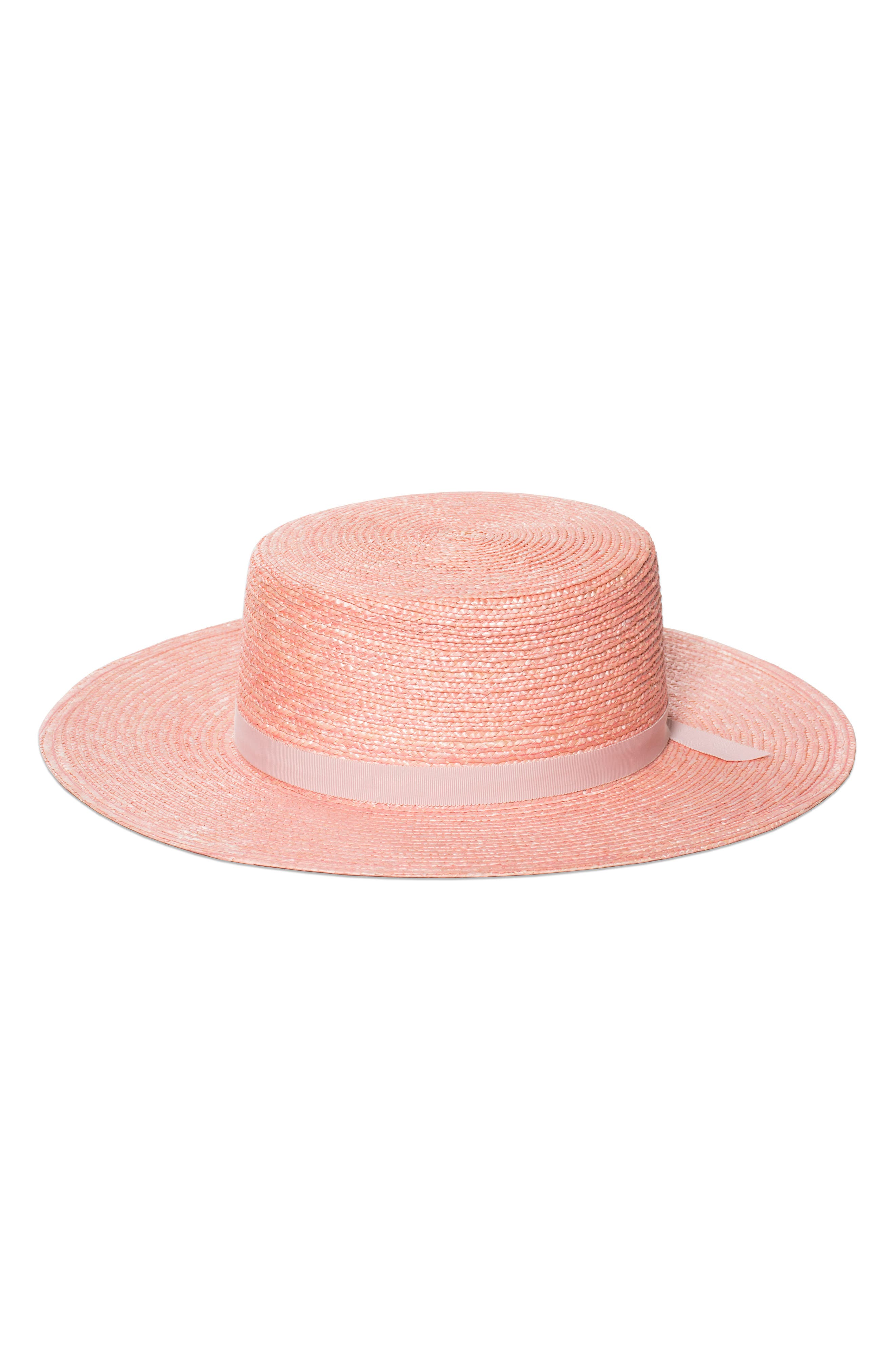 THE HIGHLAND STRAW BOATER HAT - PINK