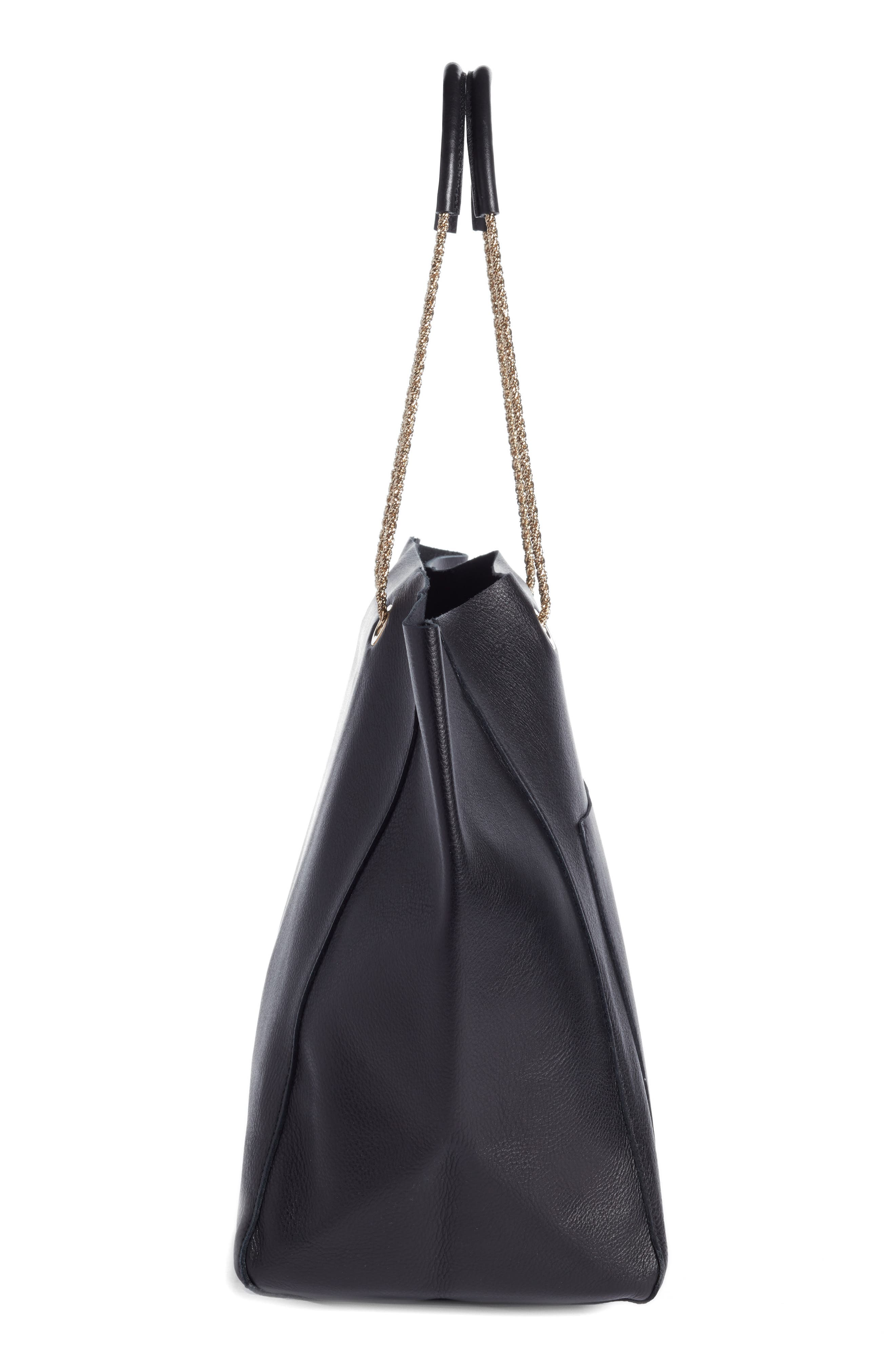 Gaby Leather Tote,                             Alternate thumbnail 5, color,                             Black