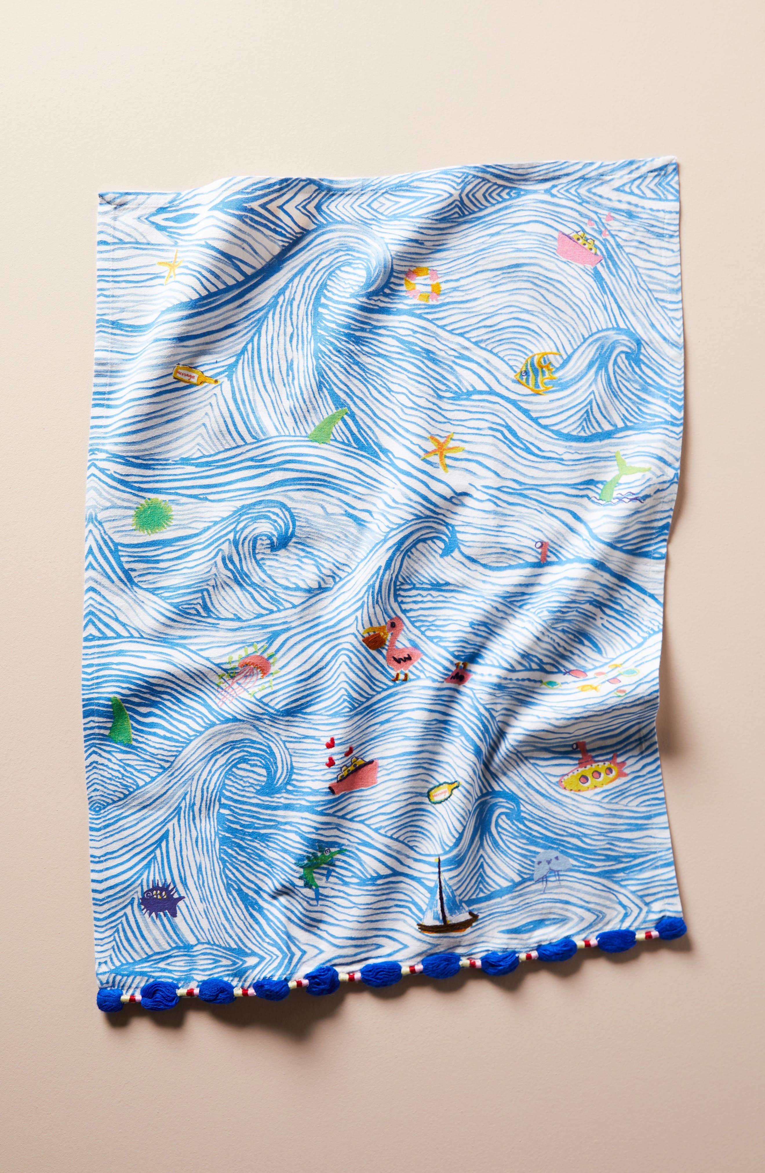 Sal Del Mar Dishtowel,                             Main thumbnail 1, color,                             Blue Combo