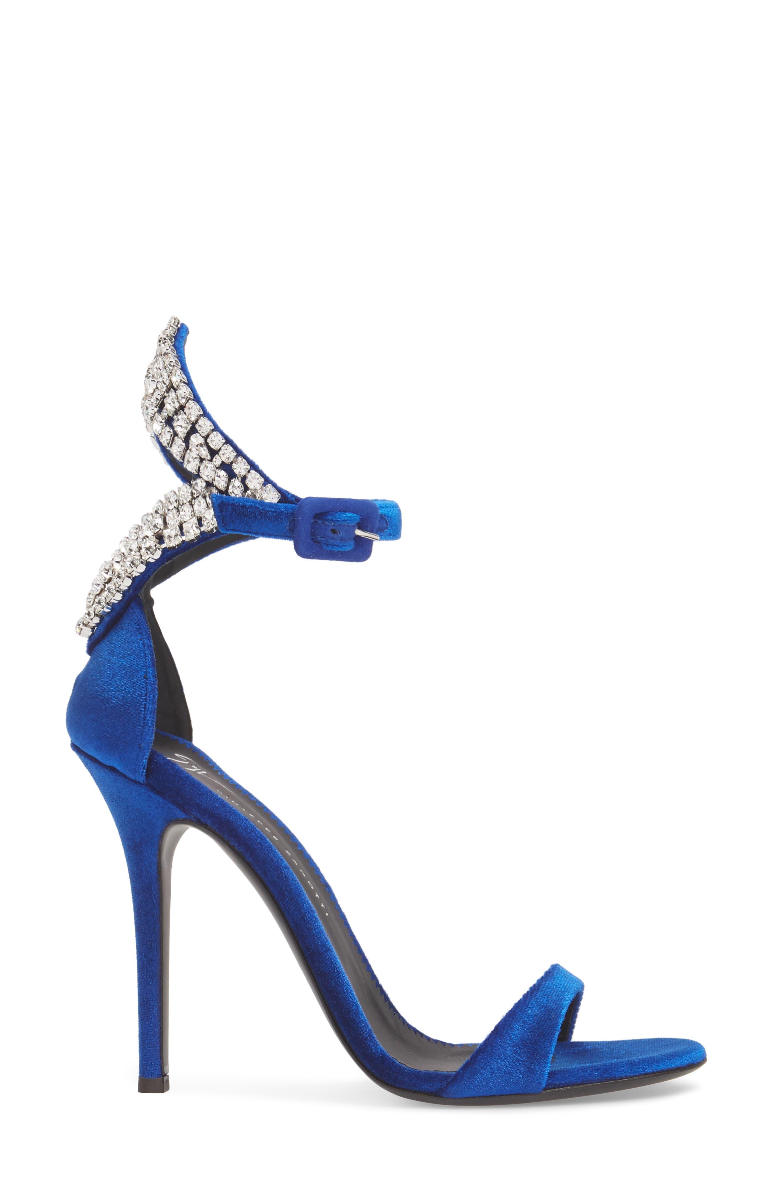 Crystal Embellished Sandal,                             Alternate thumbnail 3, color,                             Electric Blue
