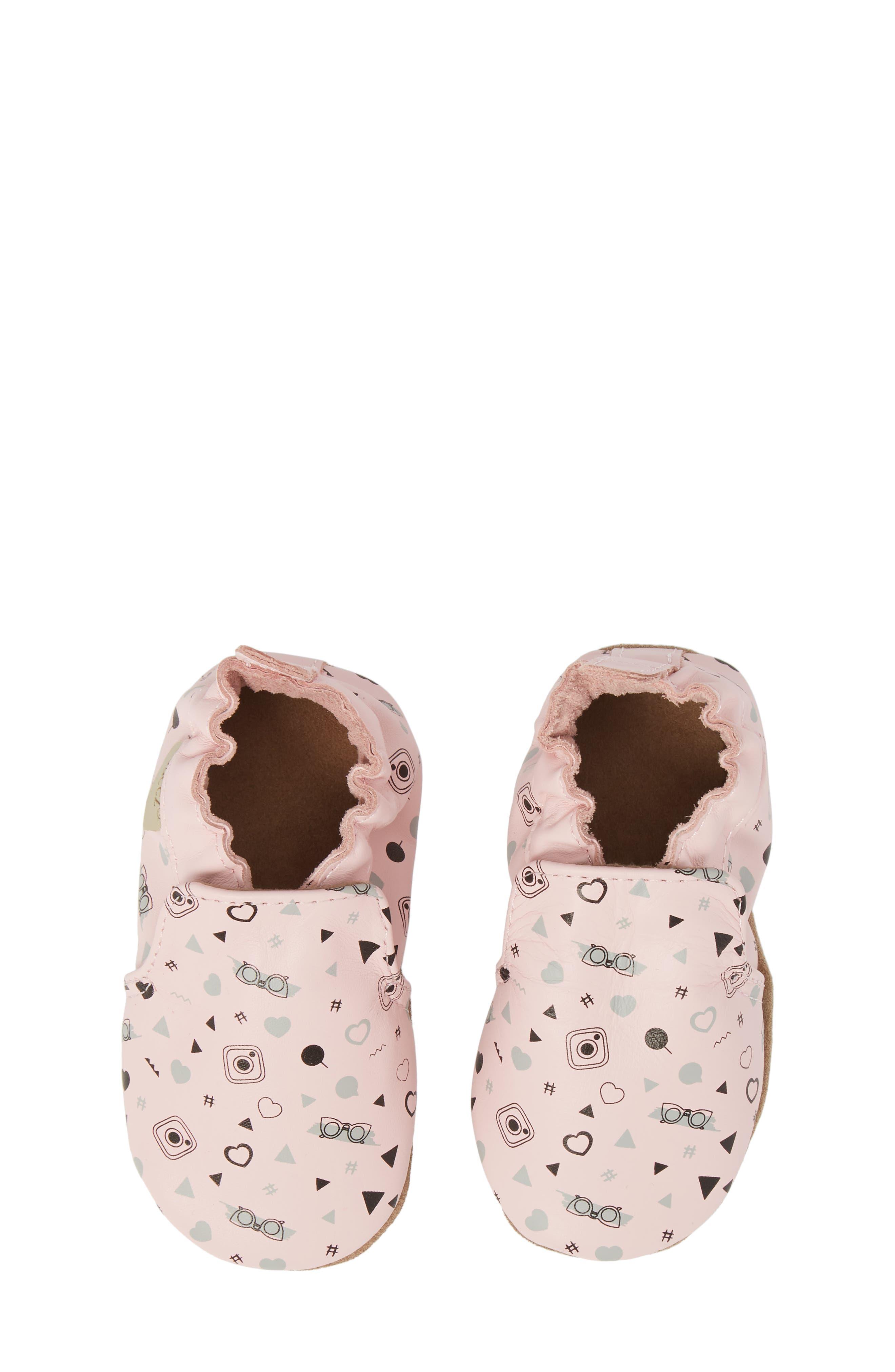 Girlygirl Moccasin Crib Shoe,                             Main thumbnail 1, color,                             Soft Pink