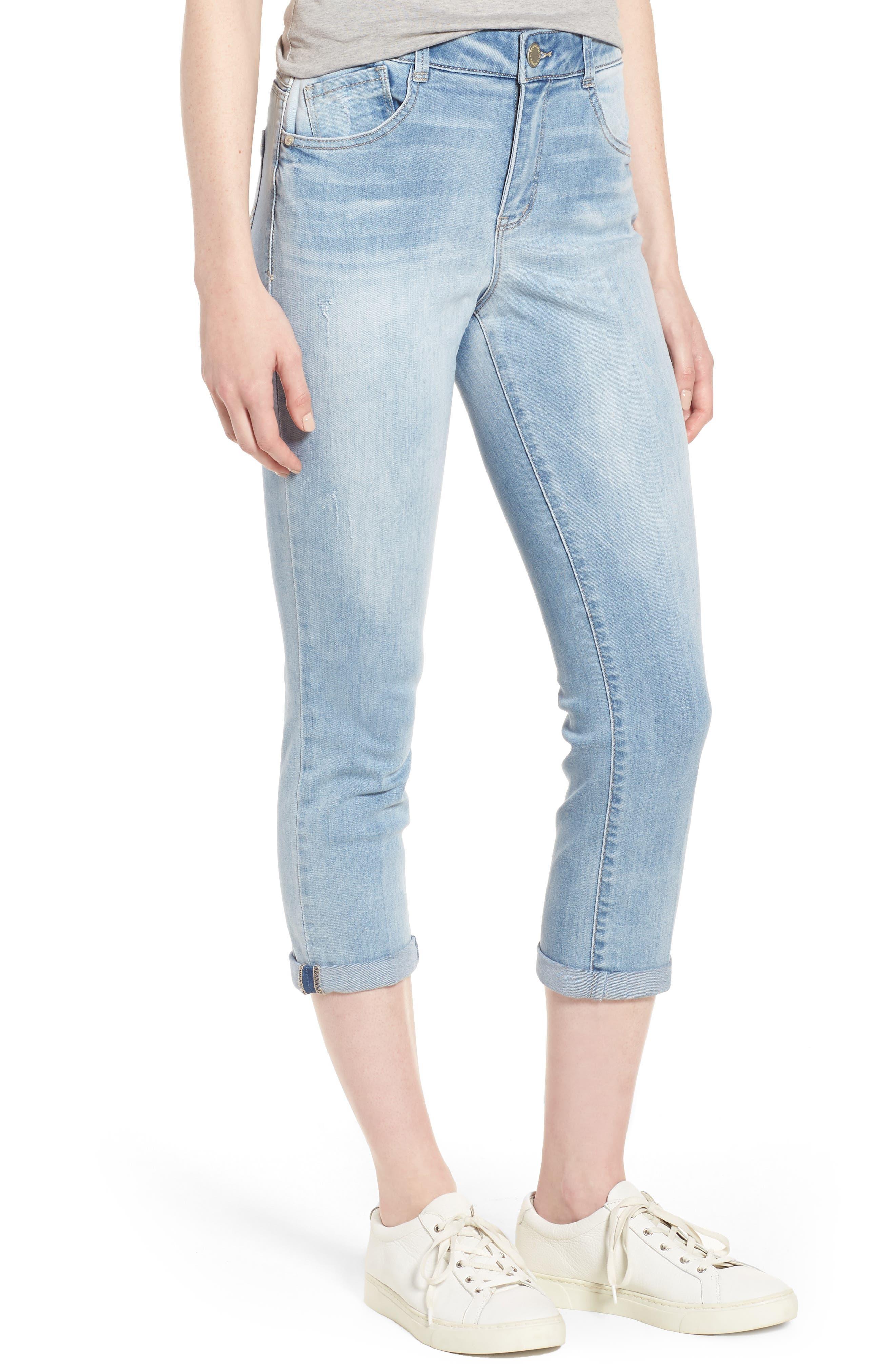 Ab-solution High Rise Crop Jeans,                             Main thumbnail 1, color,                             Light Blue