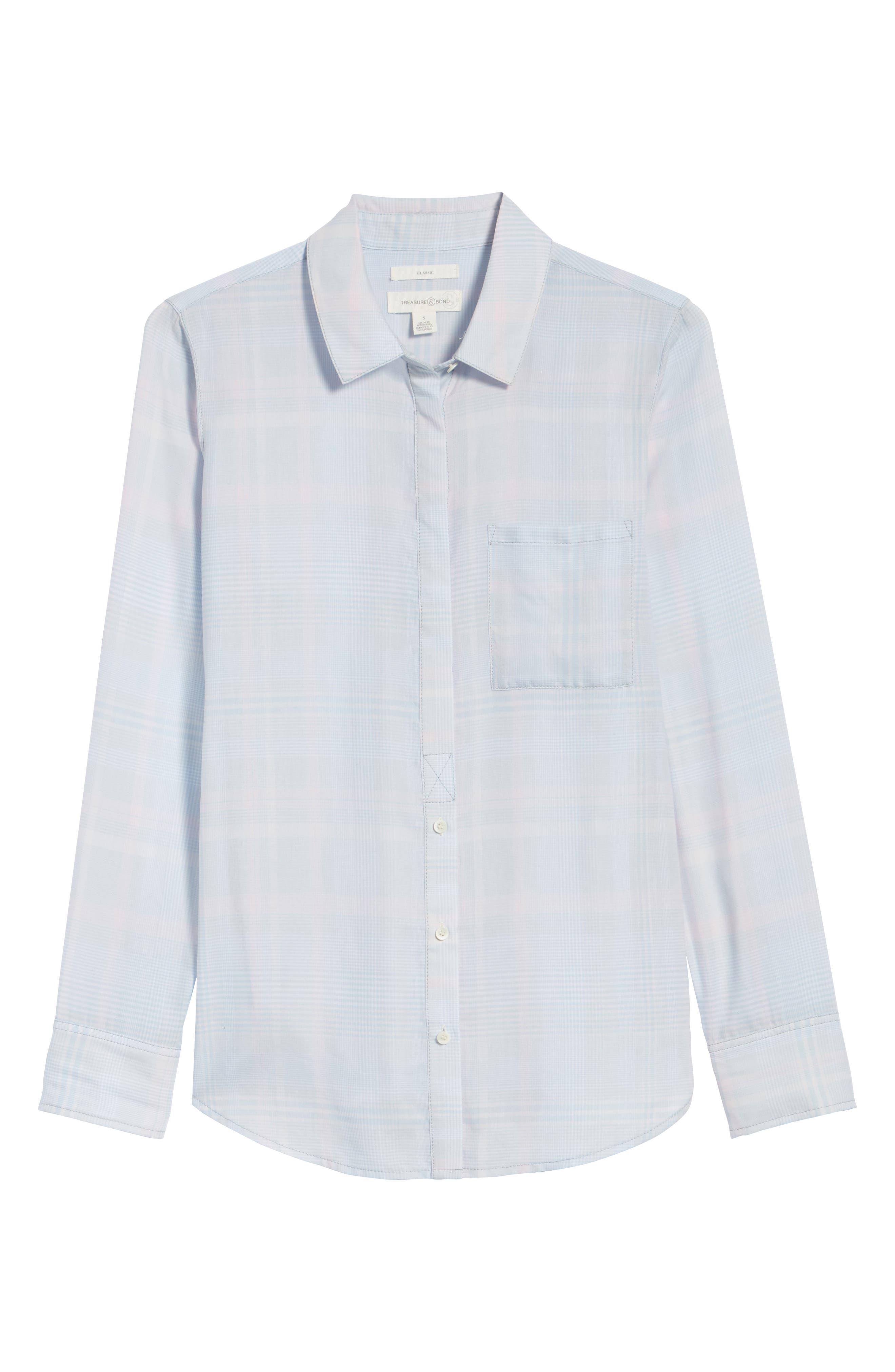 Classic Drapey Shirt,                             Alternate thumbnail 7, color,                             White Mini Glen