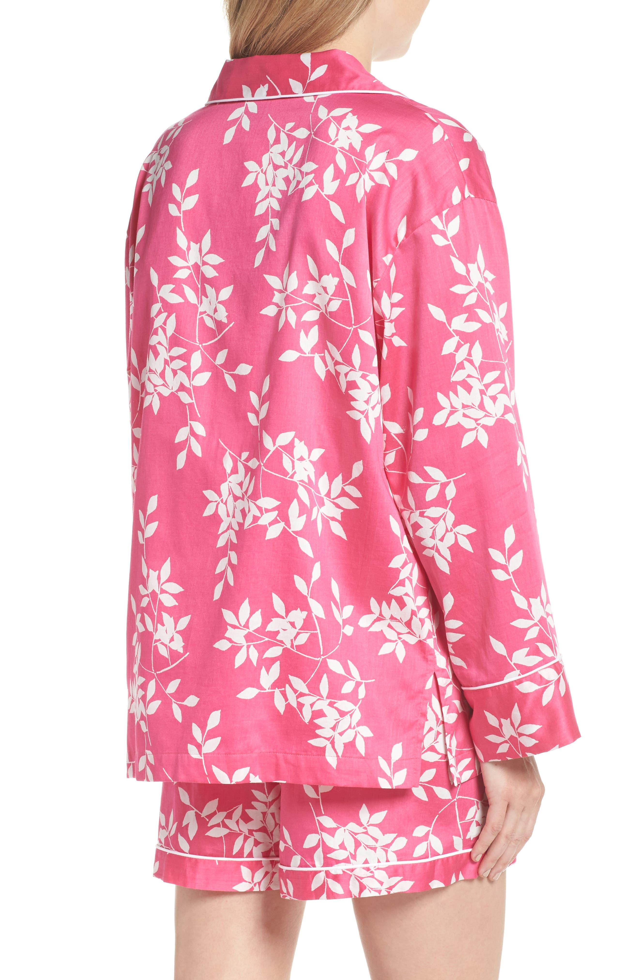 Branch Print Cotton Sateen Short Pajamas,                             Alternate thumbnail 2, color,                             Hibiscus Pink