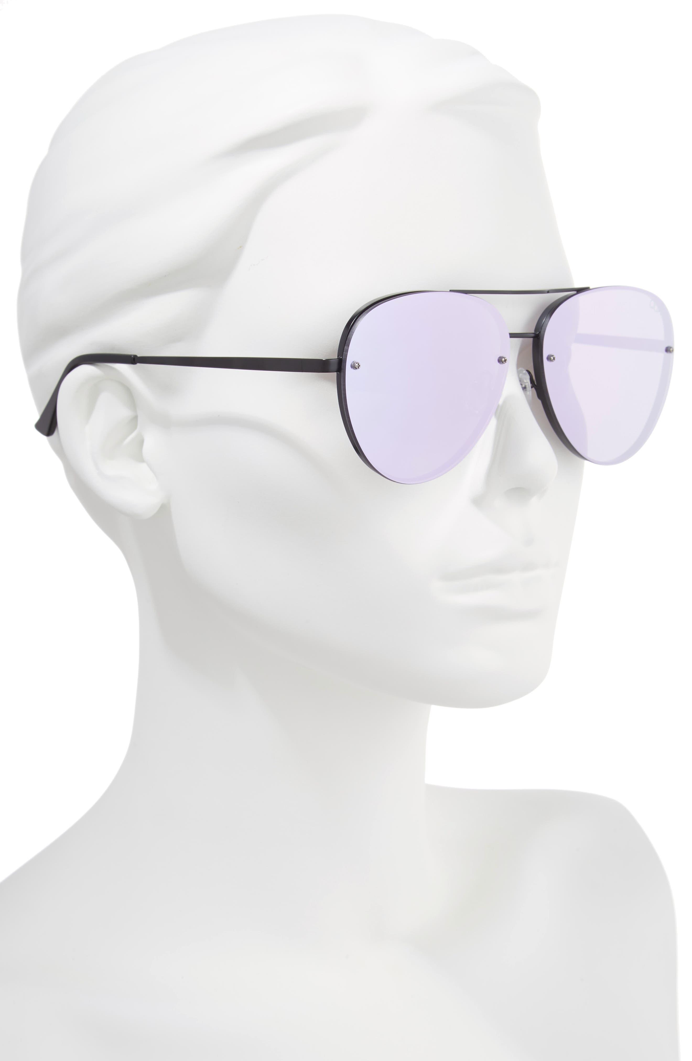 x Missguided Cool Innit 56mm Aviator Sunglasses,                             Alternate thumbnail 3, color,                             Black/Purple