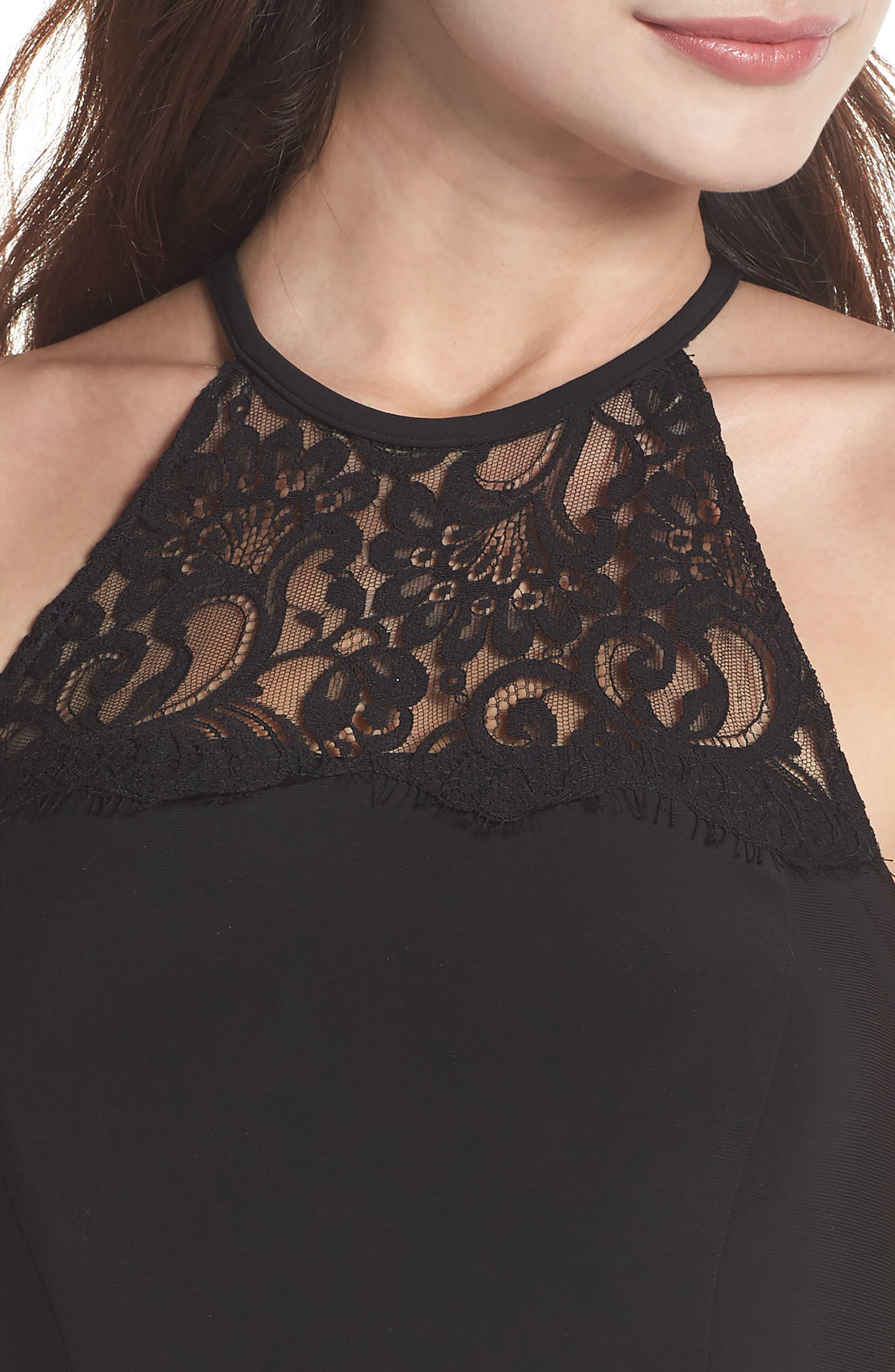 Lace Neck Halter Gown,                             Alternate thumbnail 4, color,                             Black