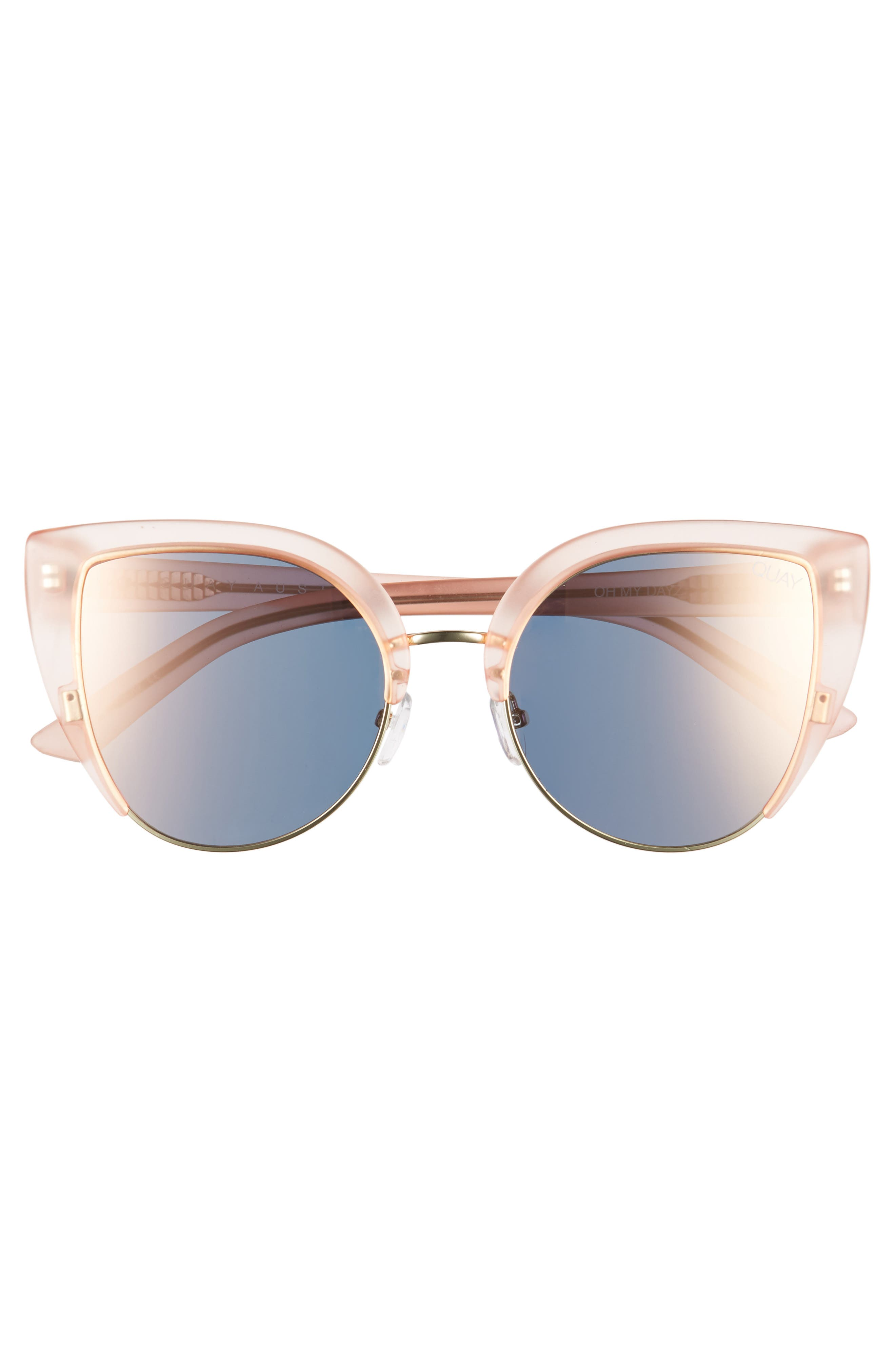 x Missguided Oh My Dayz 53mm Sunglasses,                             Alternate thumbnail 4, color,                             Pink/ Gold