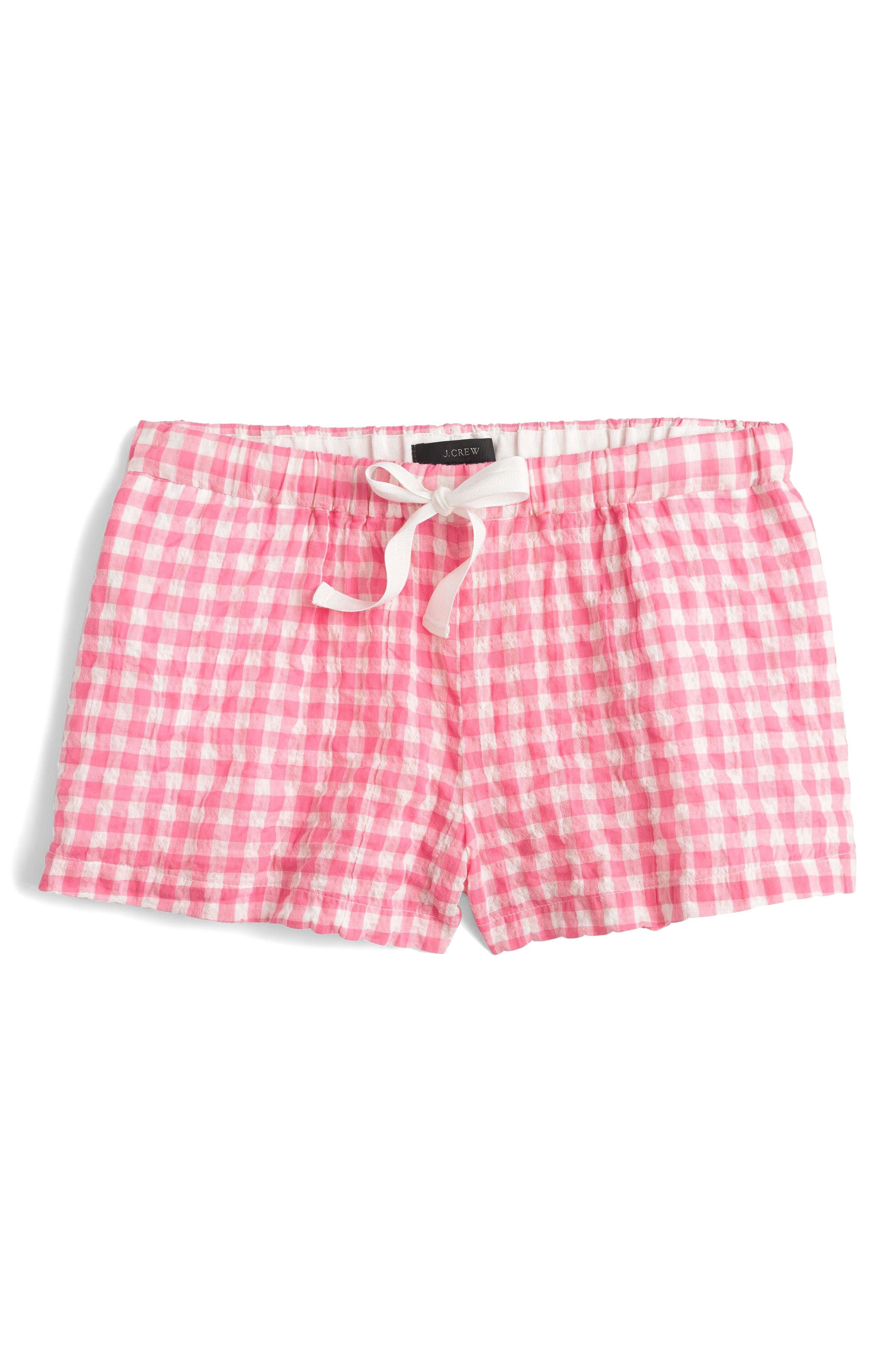J.Crew Gingham Pajama Set,                             Alternate thumbnail 3, color,                             Ivory Pink
