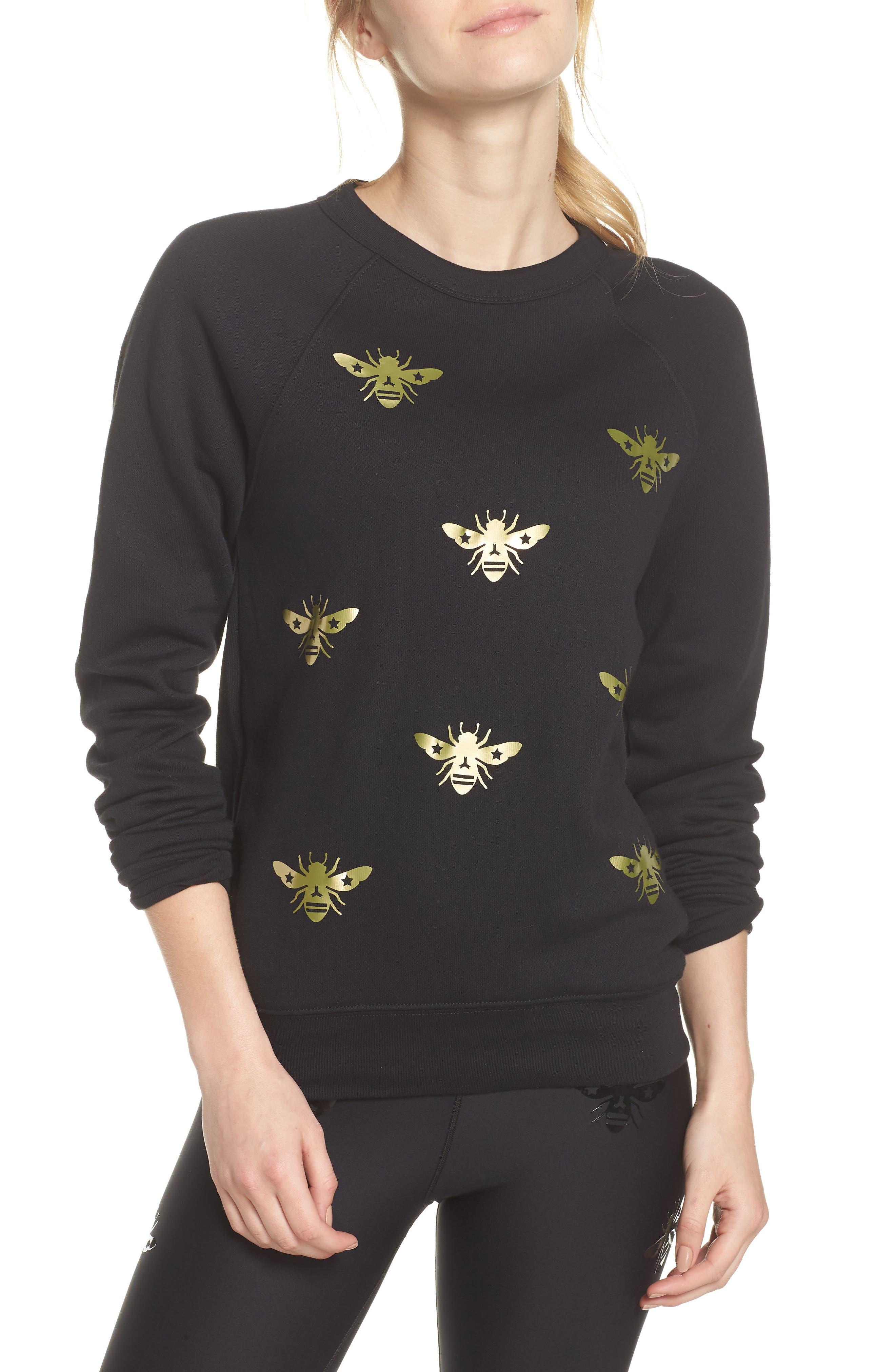 Bee Sweatshirt,                         Main,                         color, Nero/ Gold