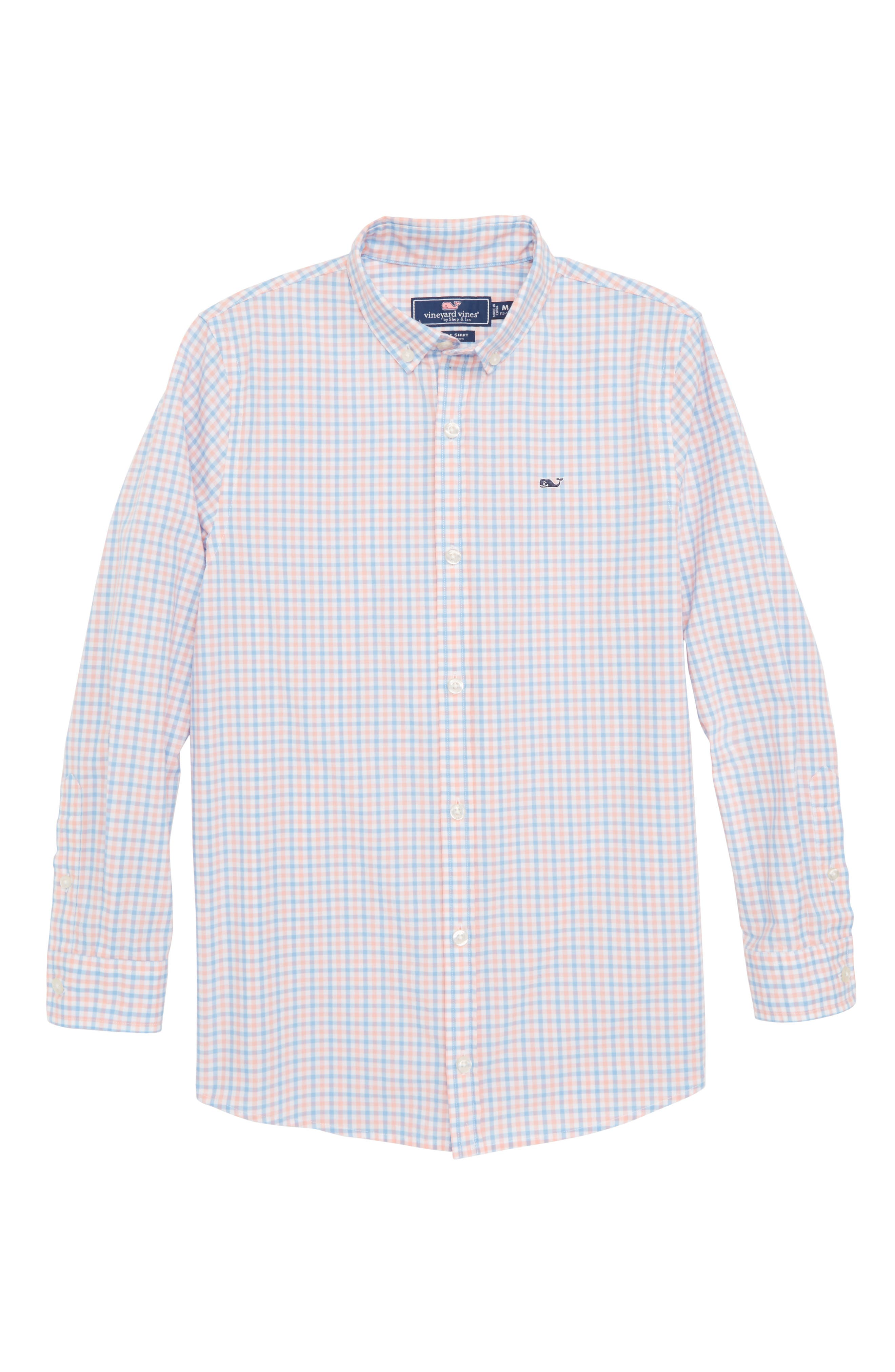 Winding Bay Gingham Woven Shirt,                             Main thumbnail 1, color,                             Bright Peach