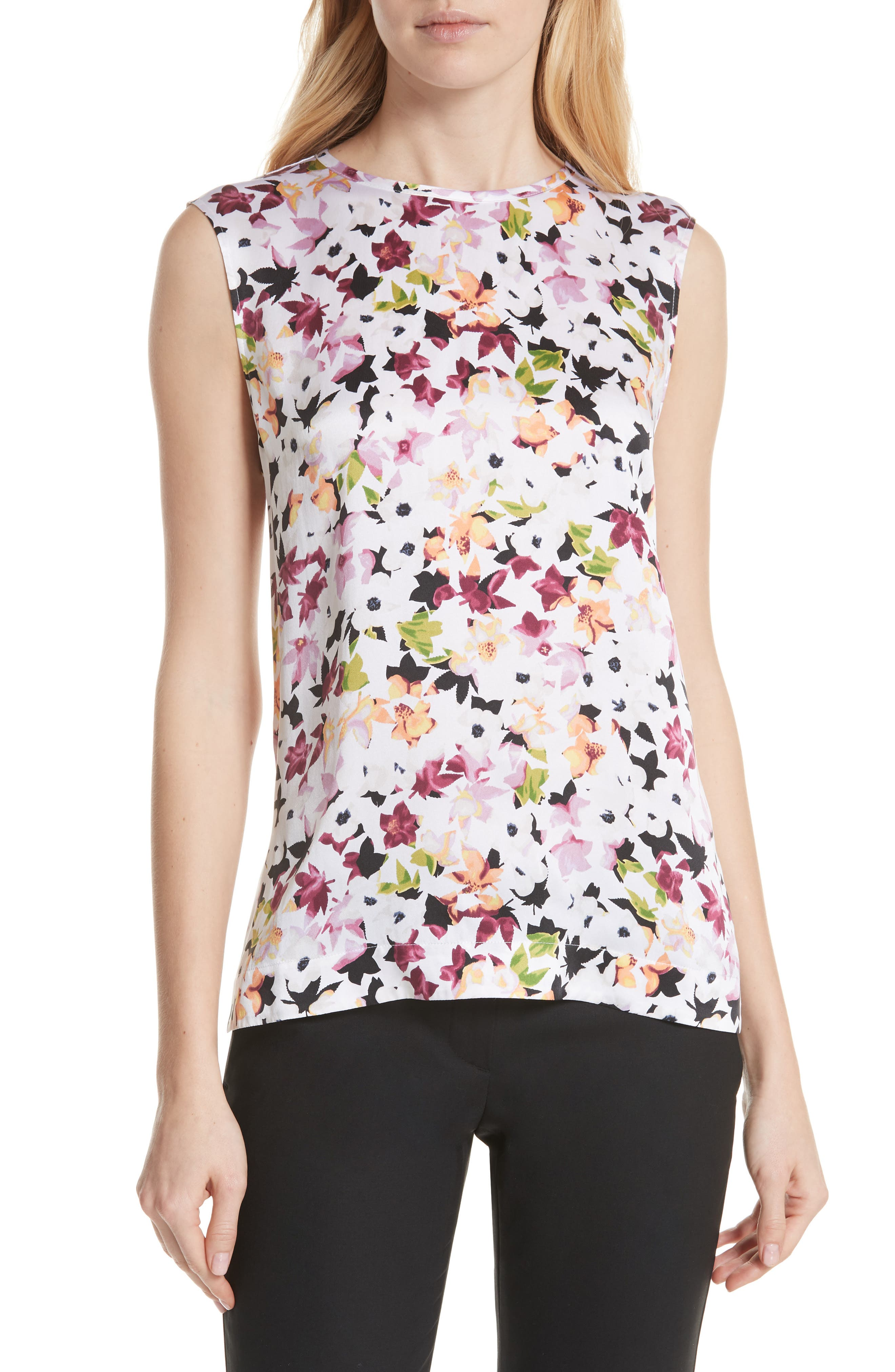 Layla Floral Silk Top,                             Main thumbnail 1, color,                             Bright White Multi