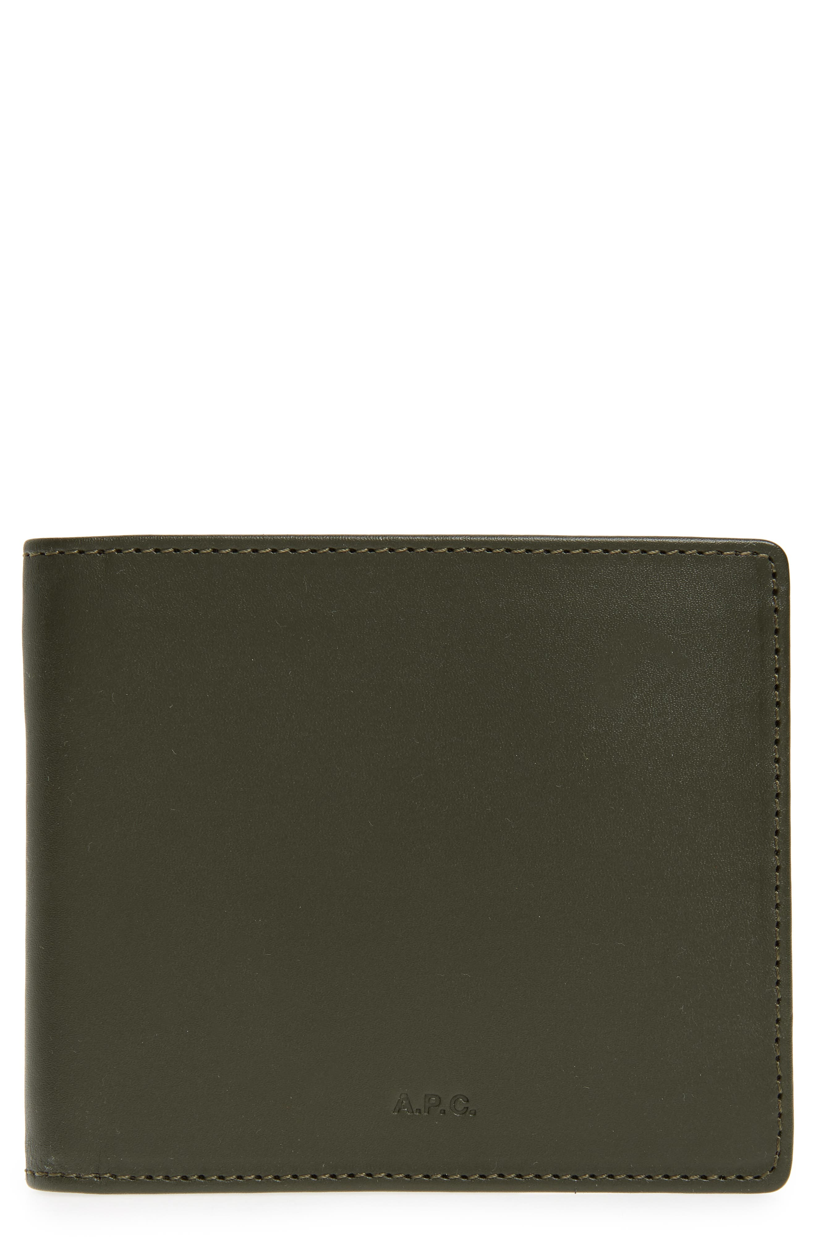 Aly Bifold Leather Wallet,                             Main thumbnail 1, color,                             Khaki