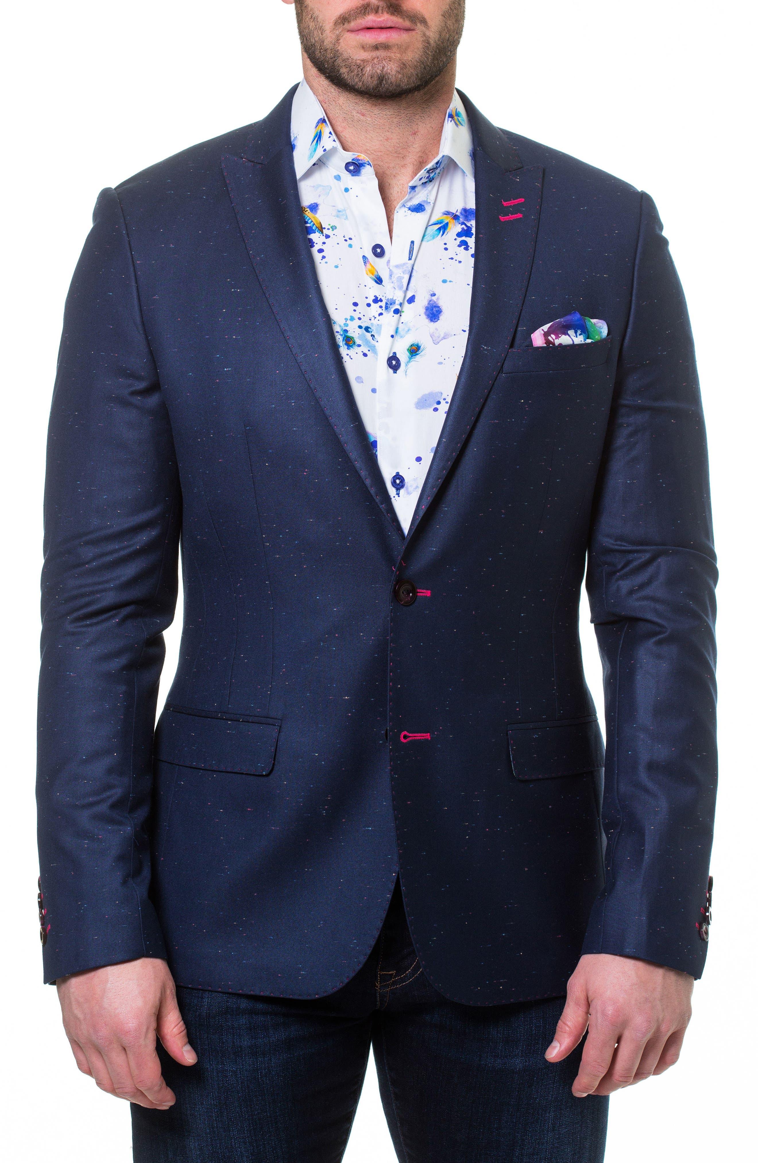Descartes Sprinkle Linen & Cotton Blend Sport Coat,                         Main,                         color, Blue