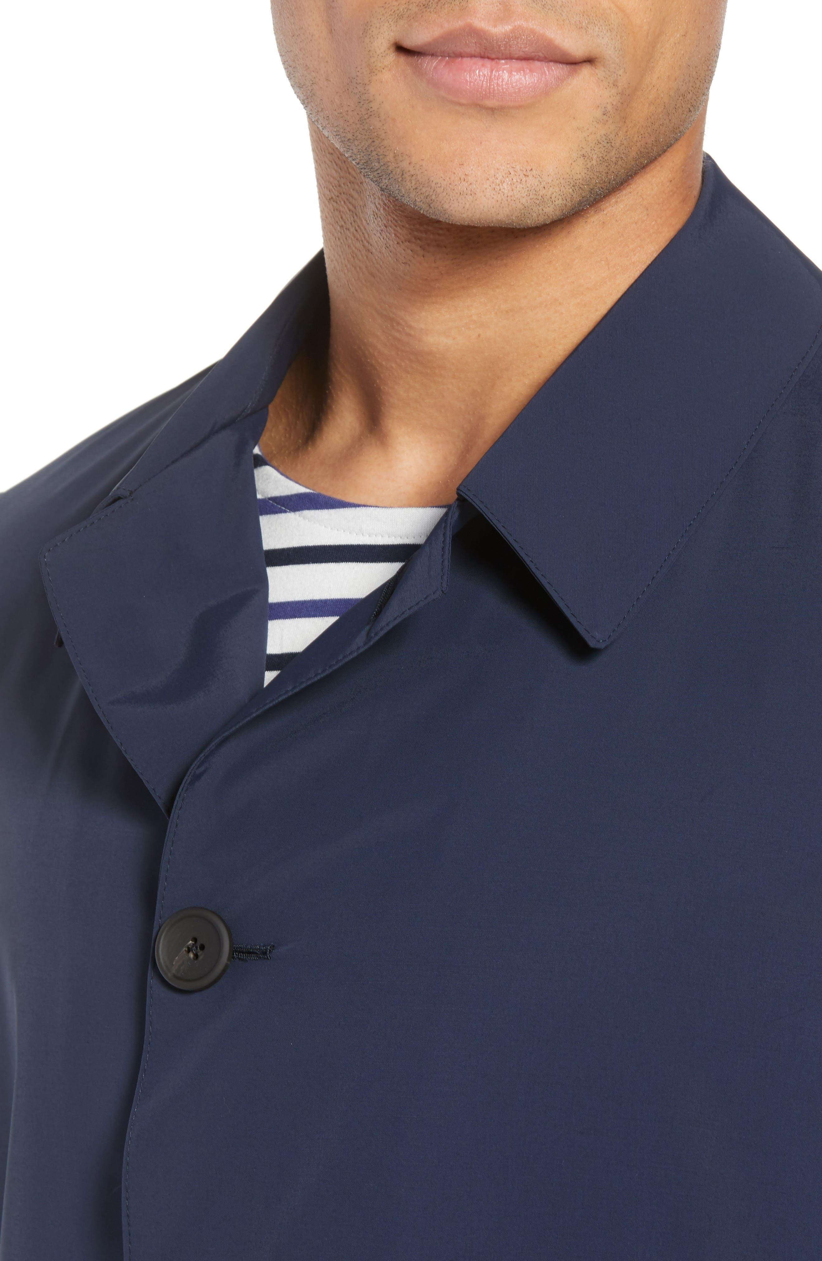 Shell Wool Blend Rain Coat,                             Alternate thumbnail 4, color,                             Navy