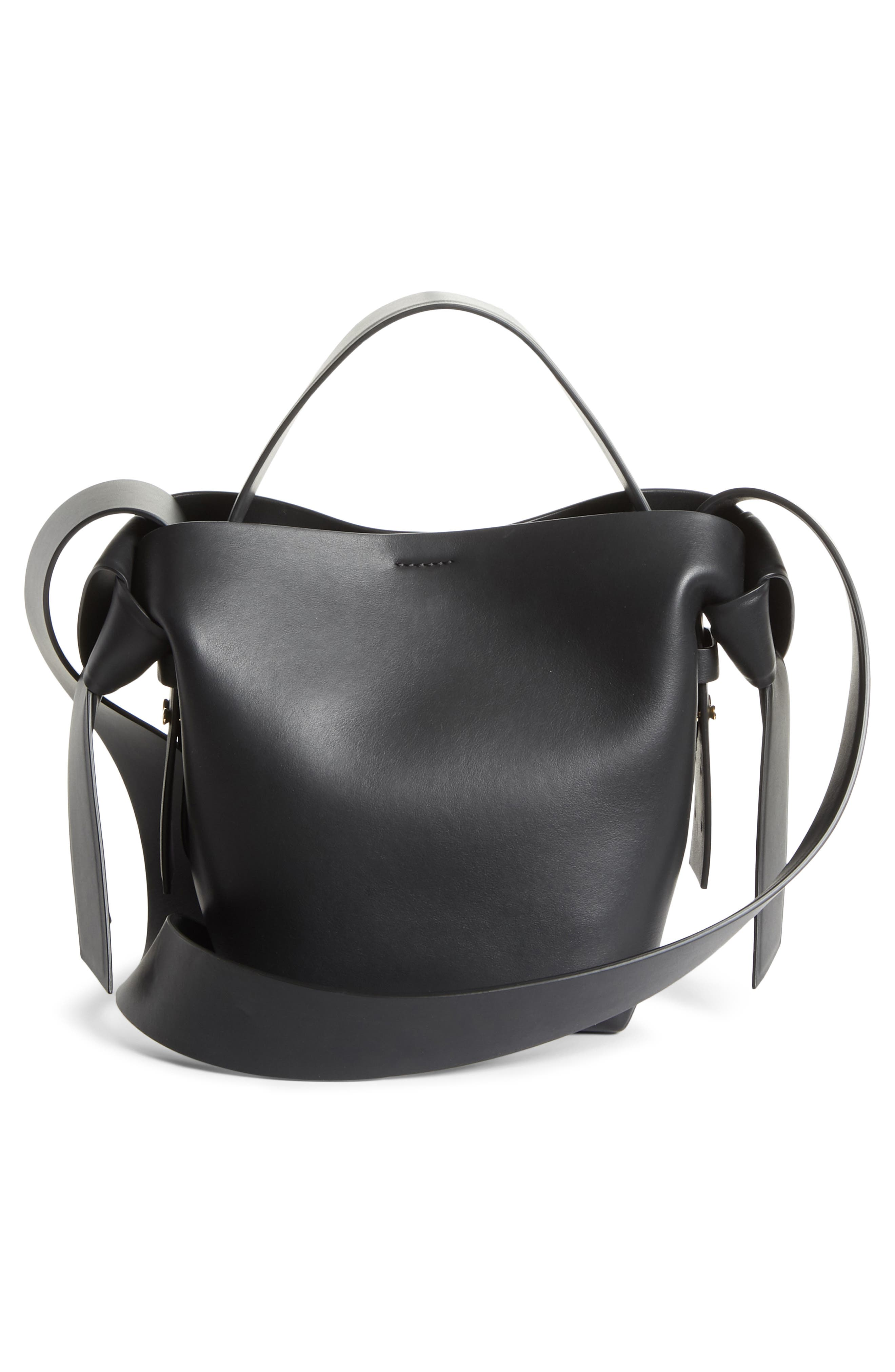 Musubi Leather Mini Bag,                             Alternate thumbnail 3, color,                             Black