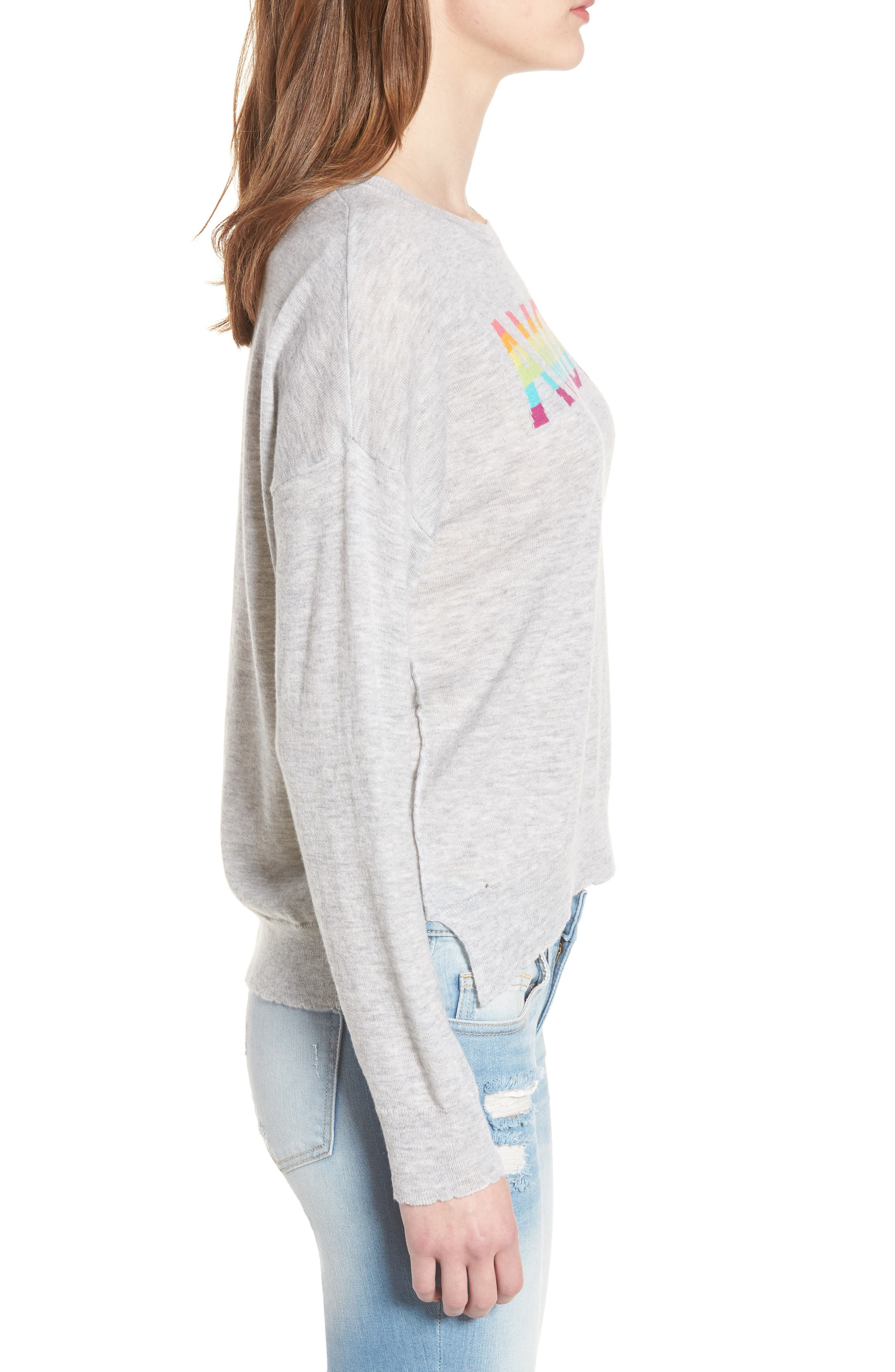 Amour Wool & Cashmere Sweater,                             Alternate thumbnail 3, color,                             Heather Grey