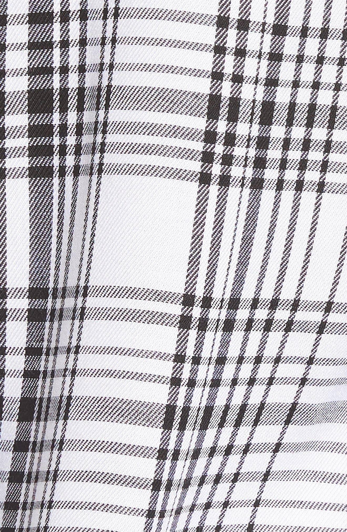 Roll-Tab Shirt,                             Alternate thumbnail 6, color,                             Black White Plaid