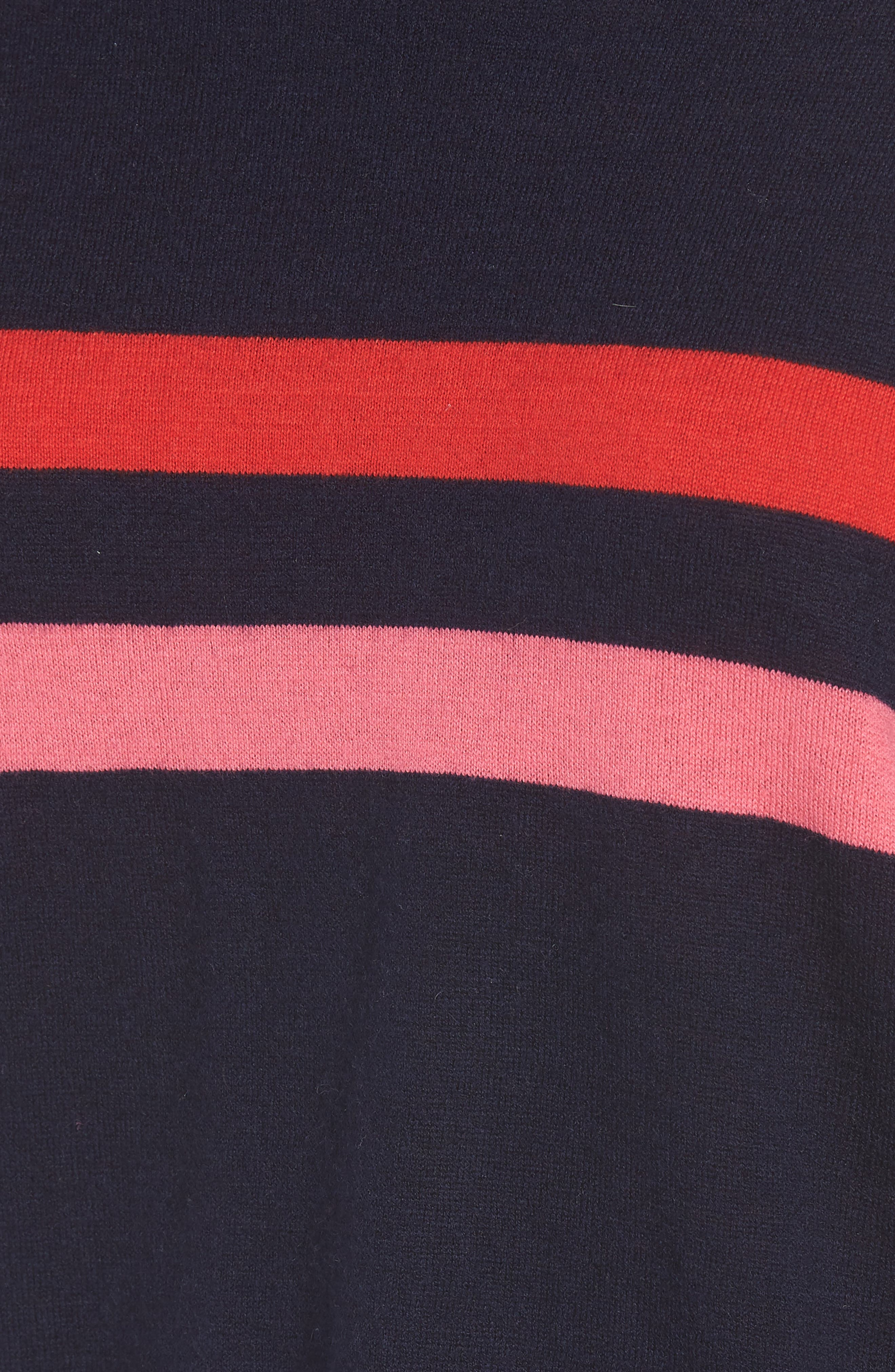 Stripe Wool & Cashmere Sweater,                             Alternate thumbnail 6, color,                             Navy