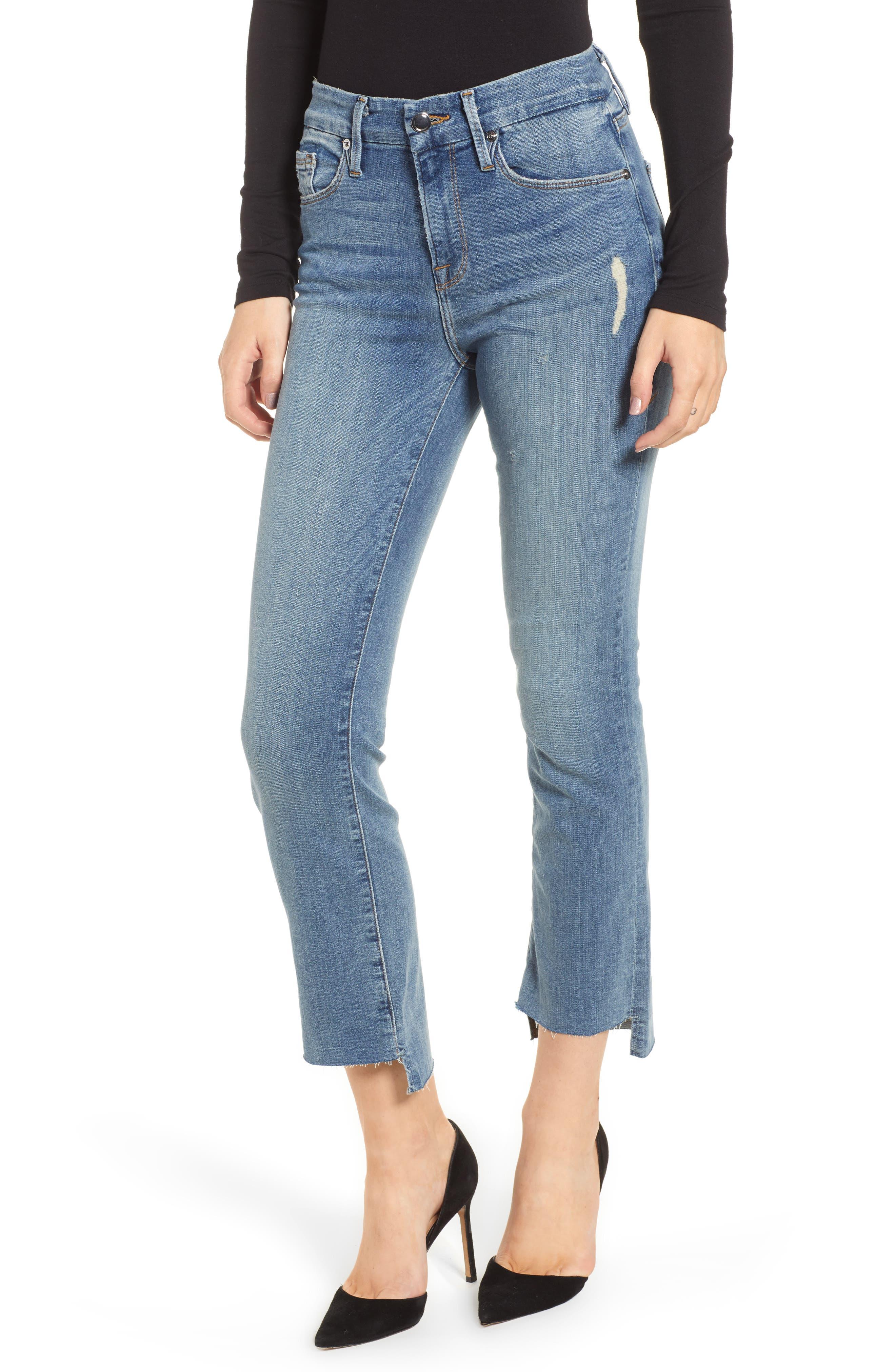Good American Good Straight Raw Hem Straight Leg Jeans (Blue 012) (Regular & Plus Size)