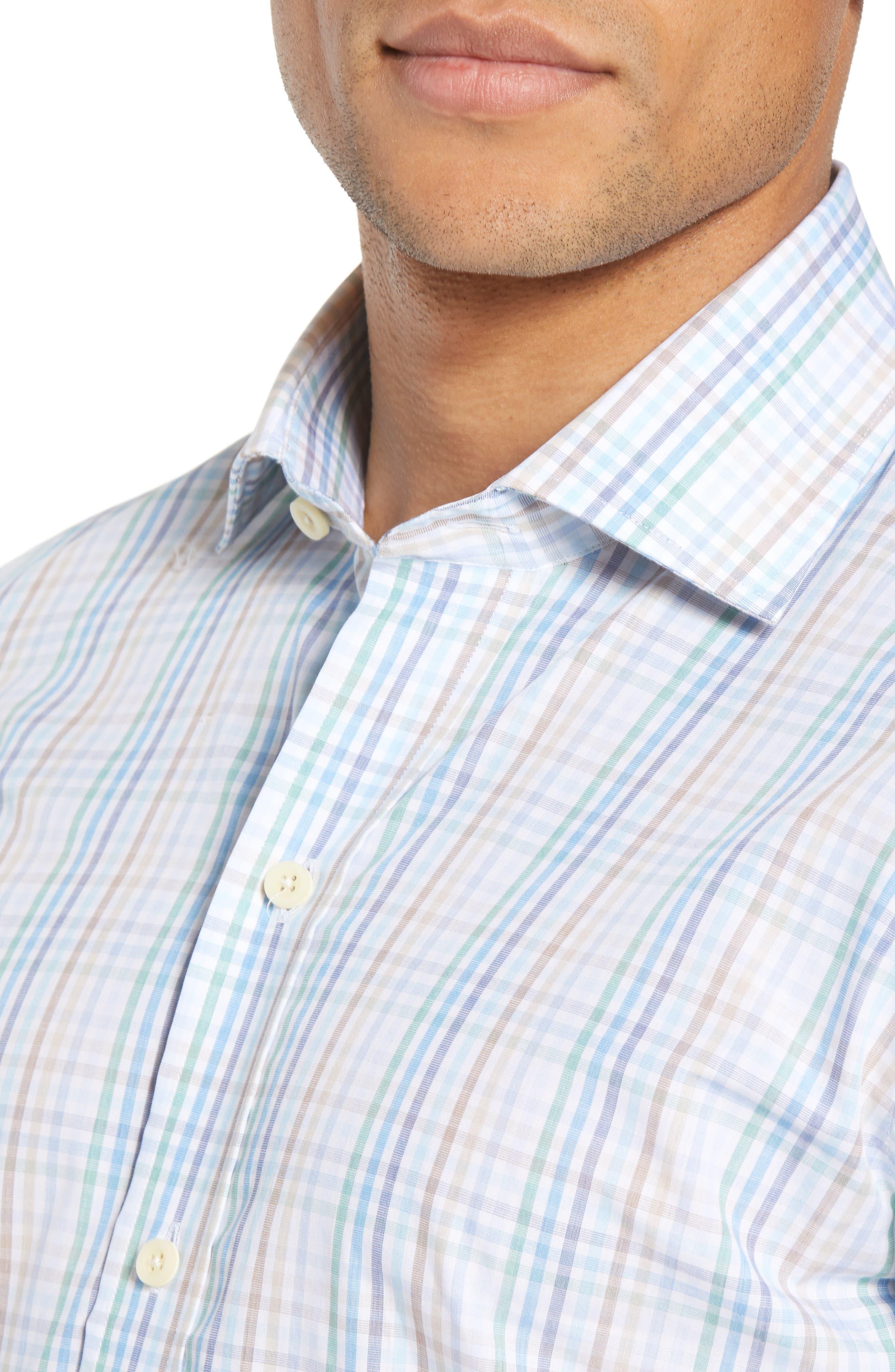 Albright Slim Fit Check Dress Shirt,                             Alternate thumbnail 2, color,                             Hunter