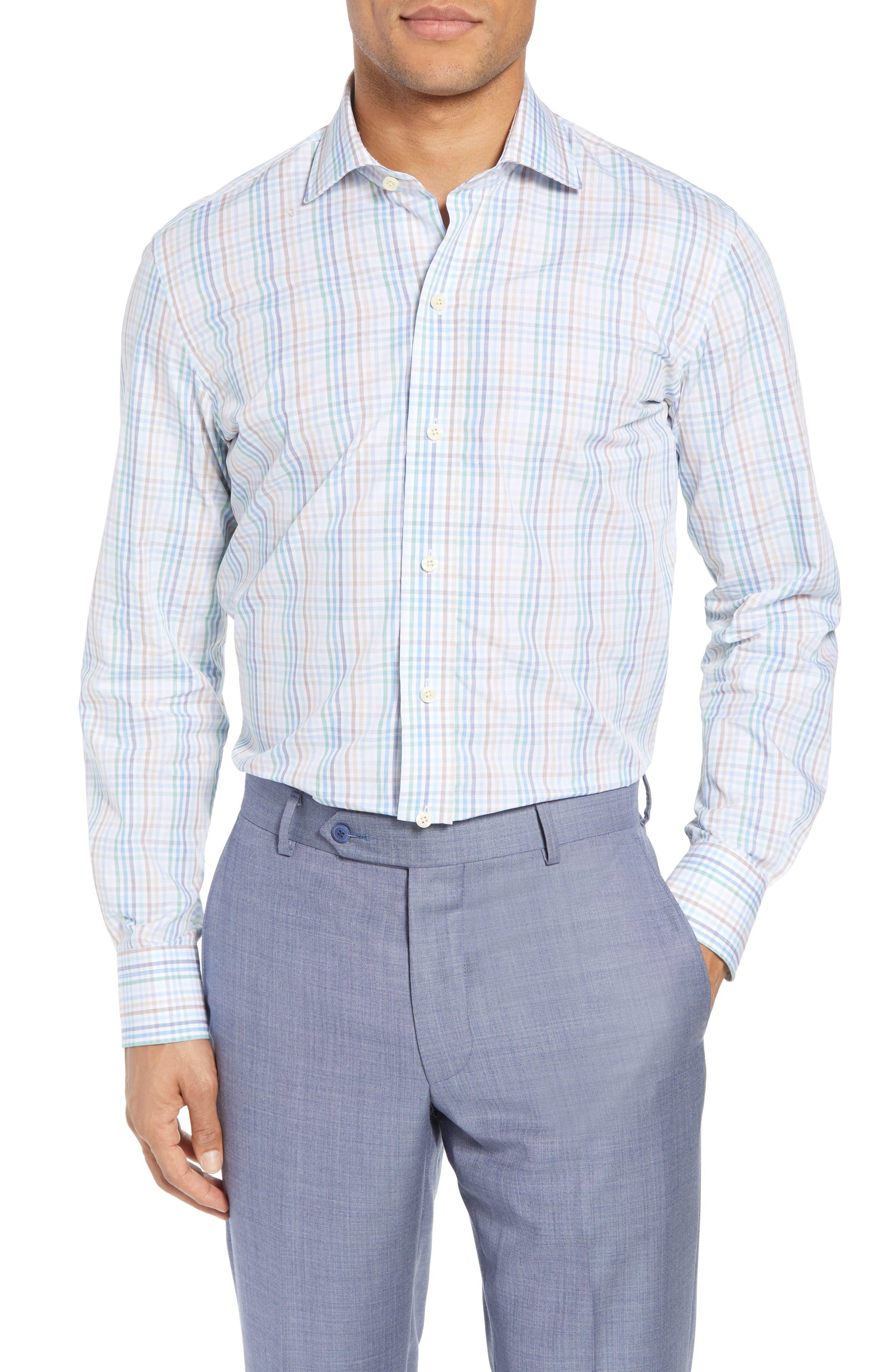 Albright Slim Fit Check Dress Shirt,                         Main,                         color, Hunter