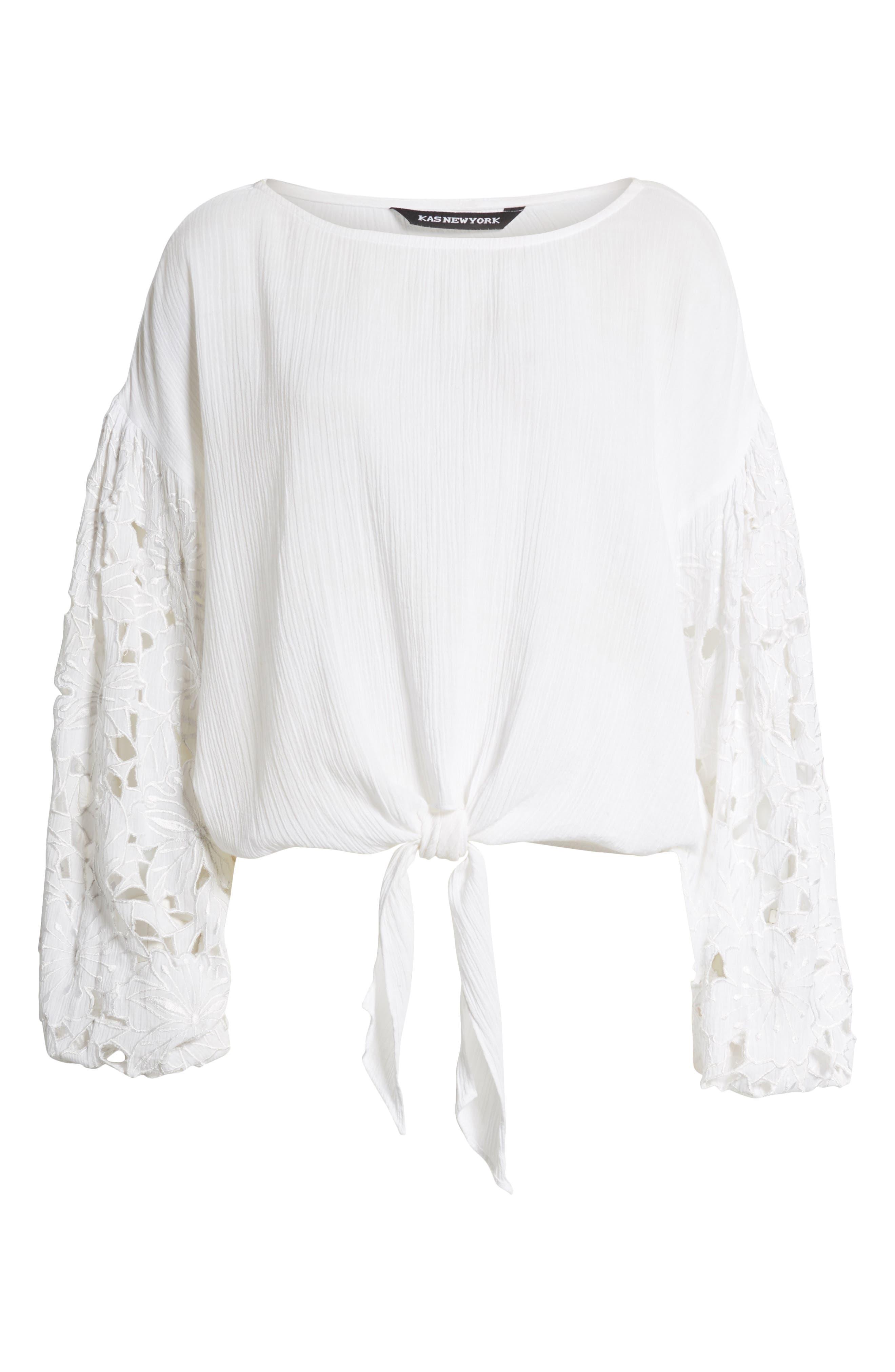 Tie Front Cut Floral Sleeve Cotton Blouse,                             Alternate thumbnail 7, color,                             White