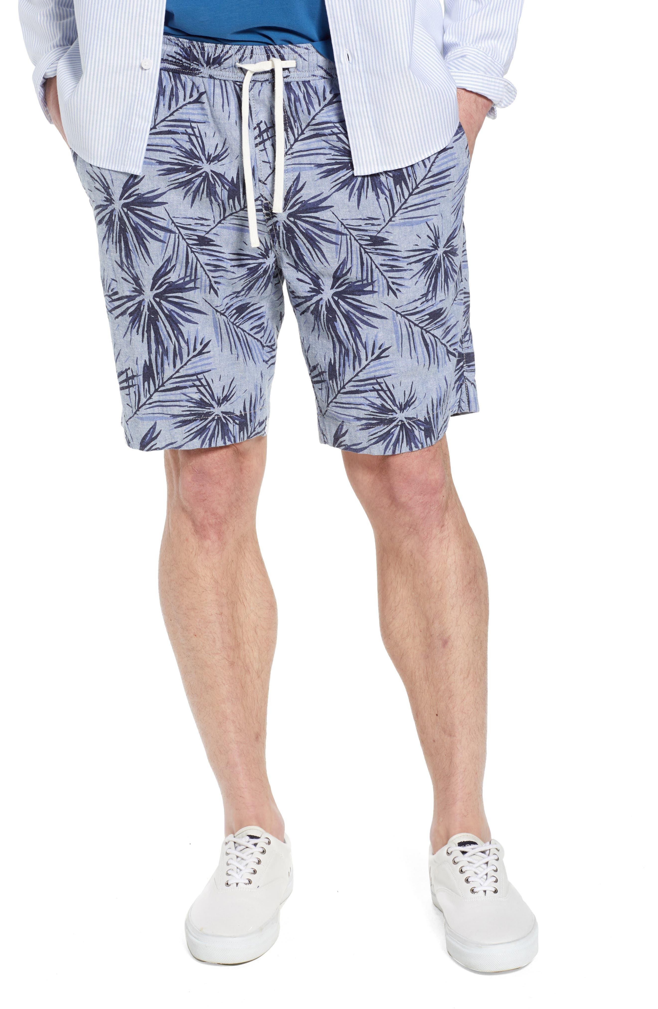 E-Waist Print Linen Blend Shorts,                         Main,                         color, Blue Vintage Leaf Print