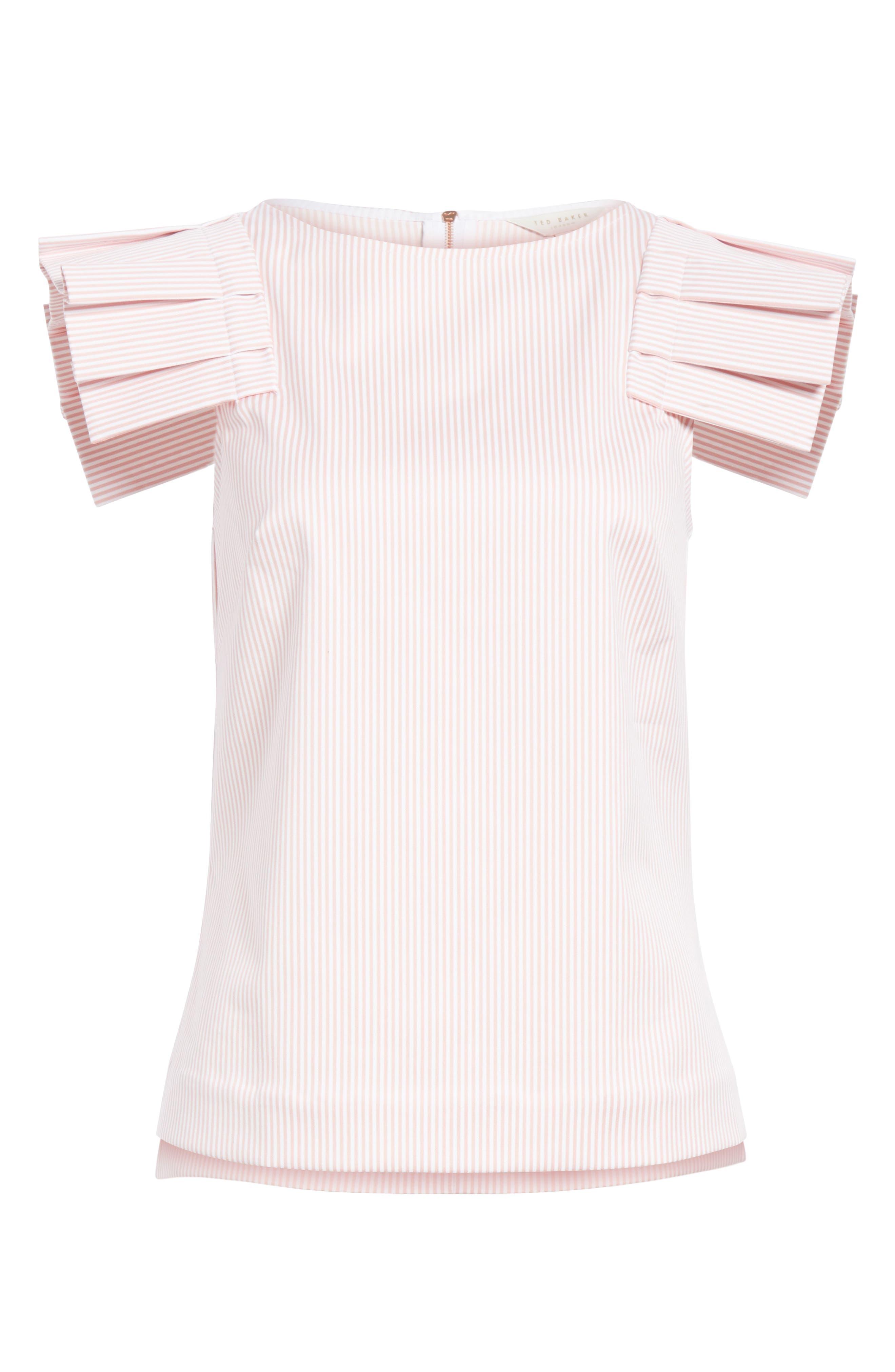 Frill Shoulder Top,                             Alternate thumbnail 6, color,                             Dusky Pink