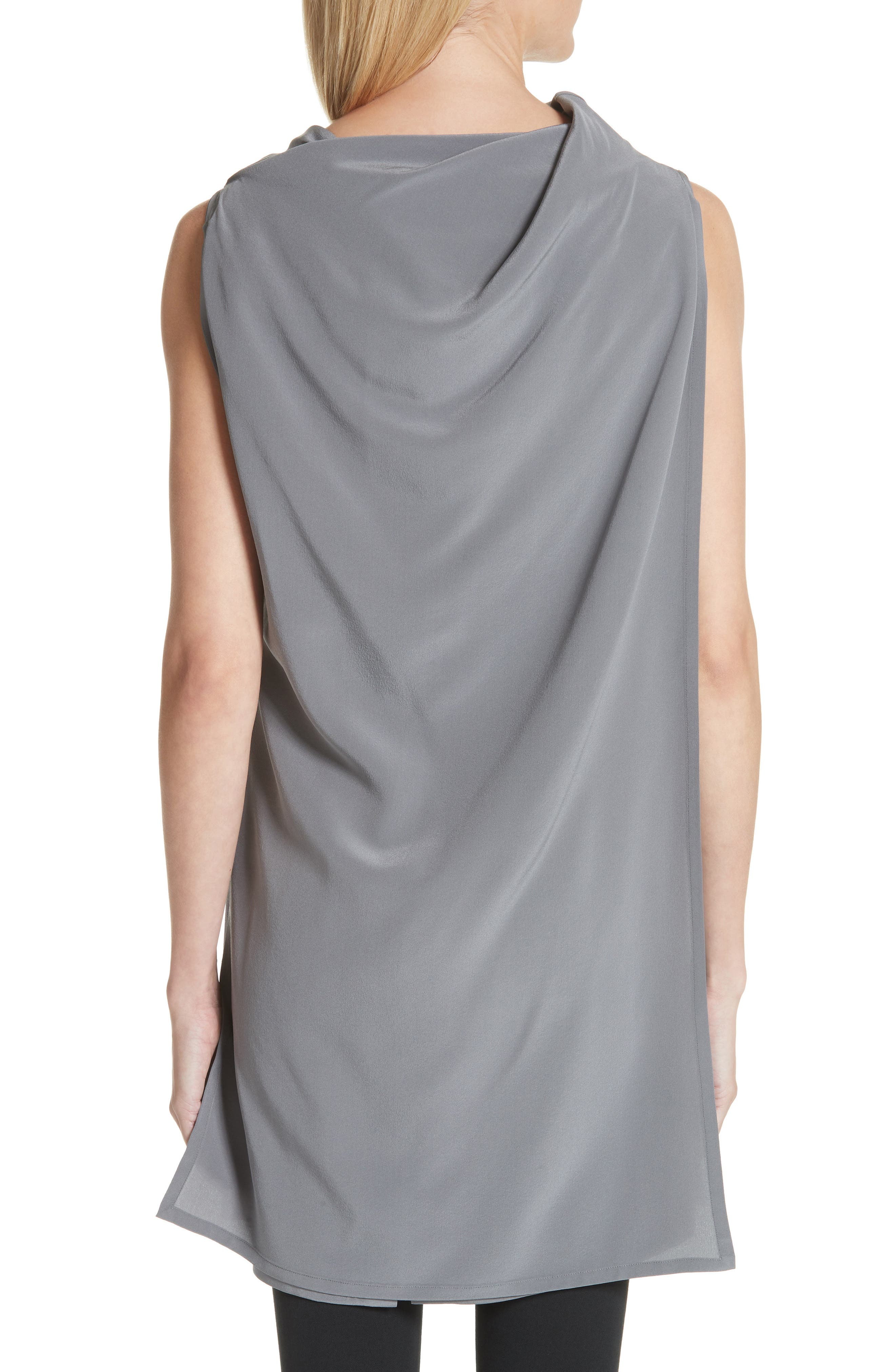 Draped Silk Tank Top,                             Alternate thumbnail 2, color,                             Grey