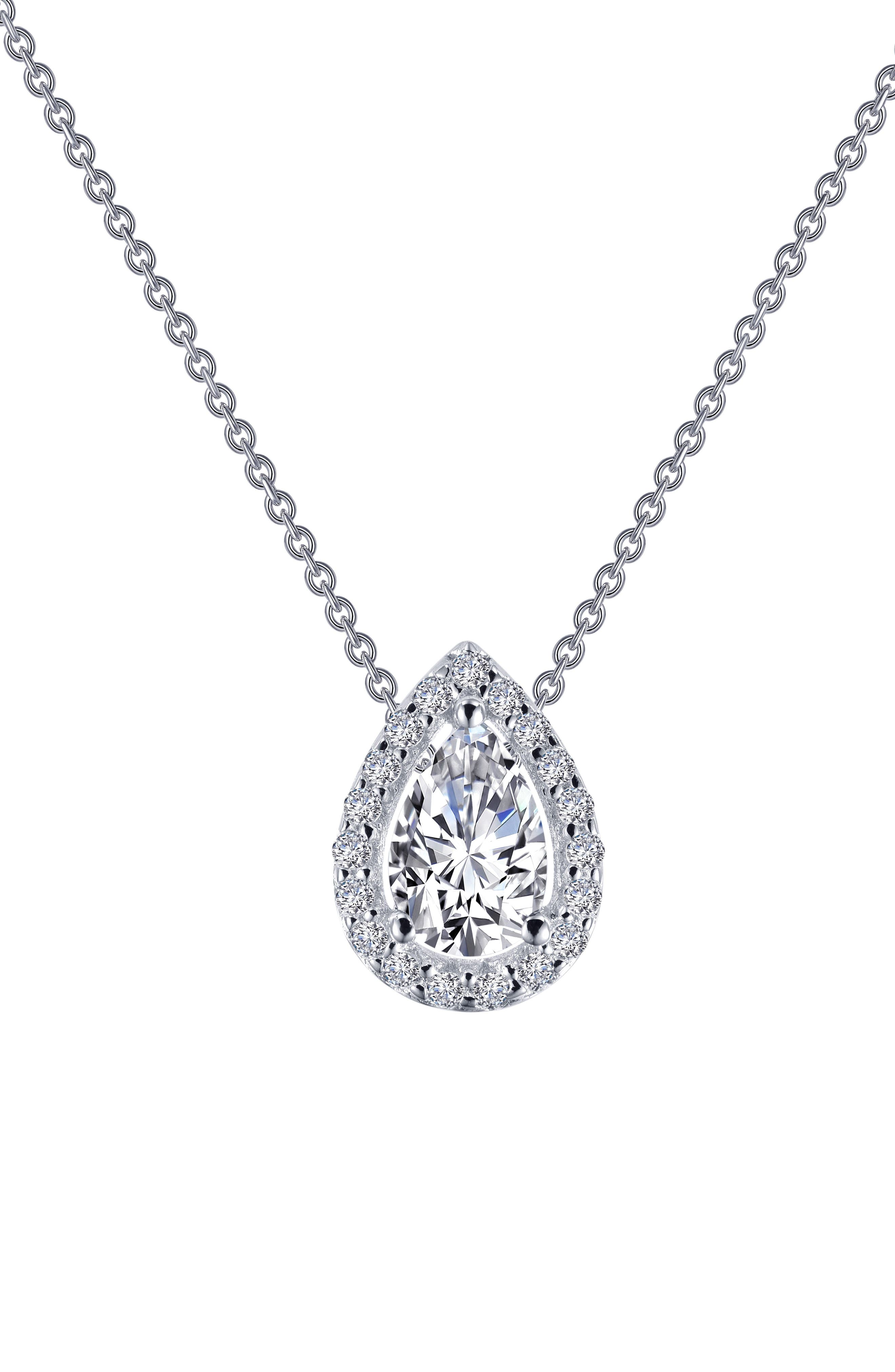 Pear Shaped Halo Necklace,                             Alternate thumbnail 3, color,                             Silver/ Clear