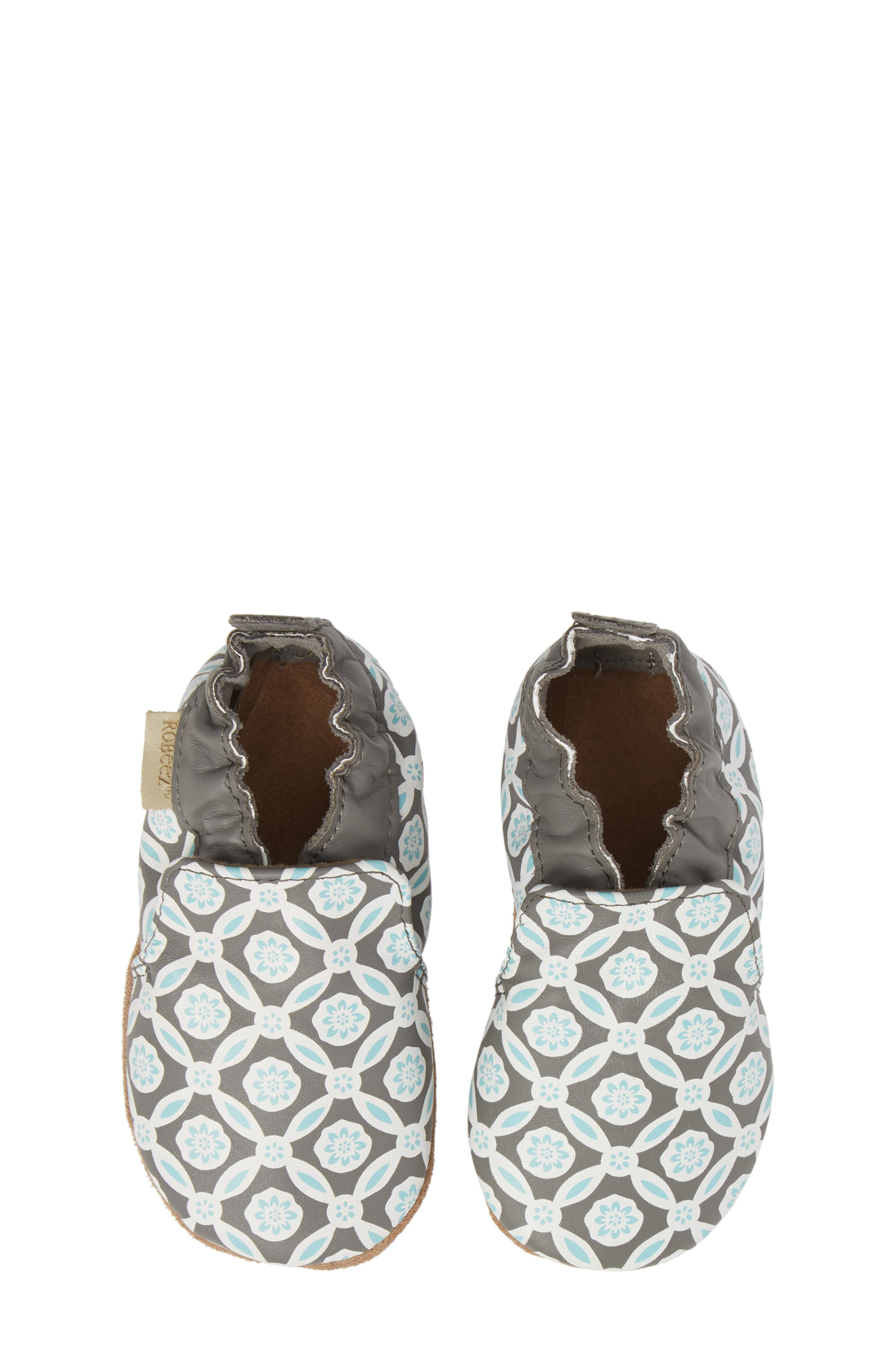 Khloe Moccasin Crib Shoe,                         Main,                         color, Charcoal